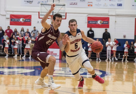 USI's Nate Hansen (5) drives the ball toward the basket during the USI vs Bellarmine basketball game at the PAC Saturday, Dec. 1, 2018.