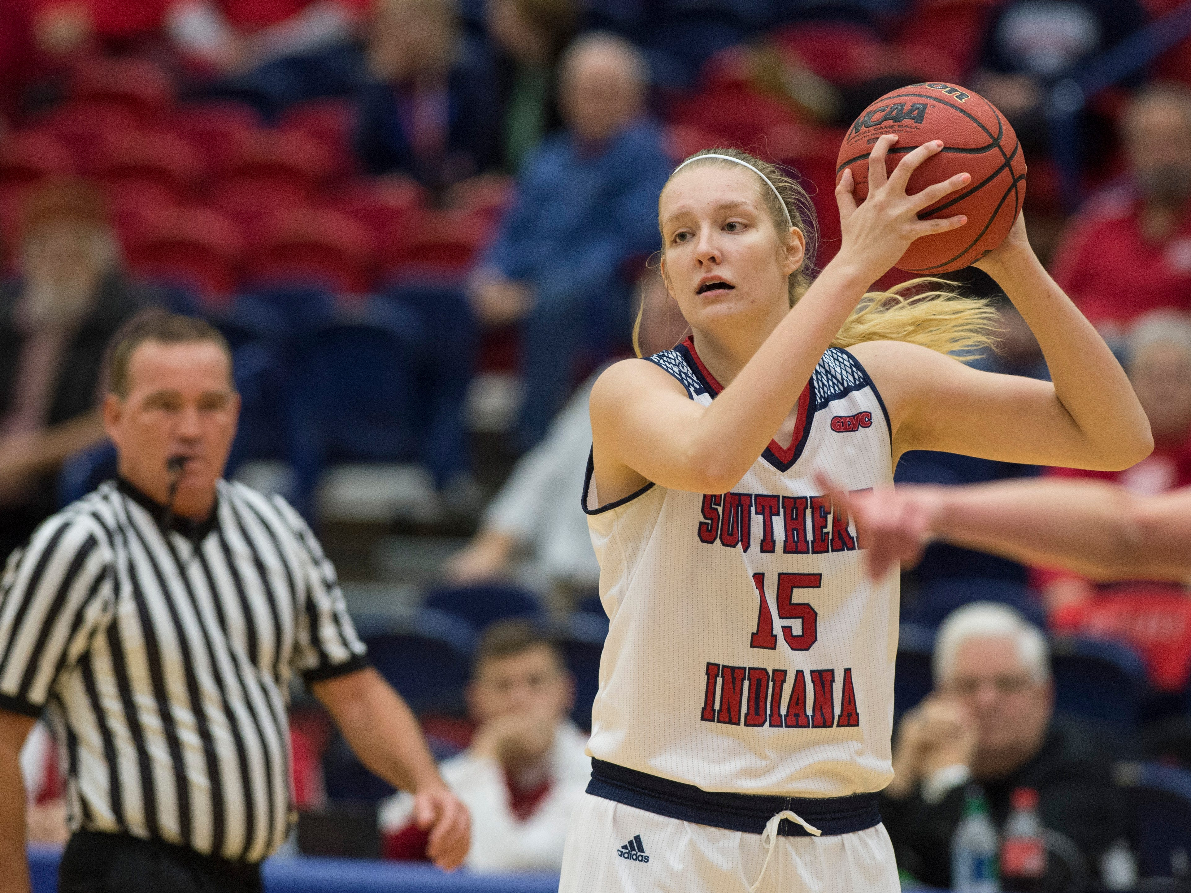 USI's Audrey Turner (15) looks to pass the ball during the USI vs Bellarmine game at the PAC Saturday, Dec. 1, 2018.