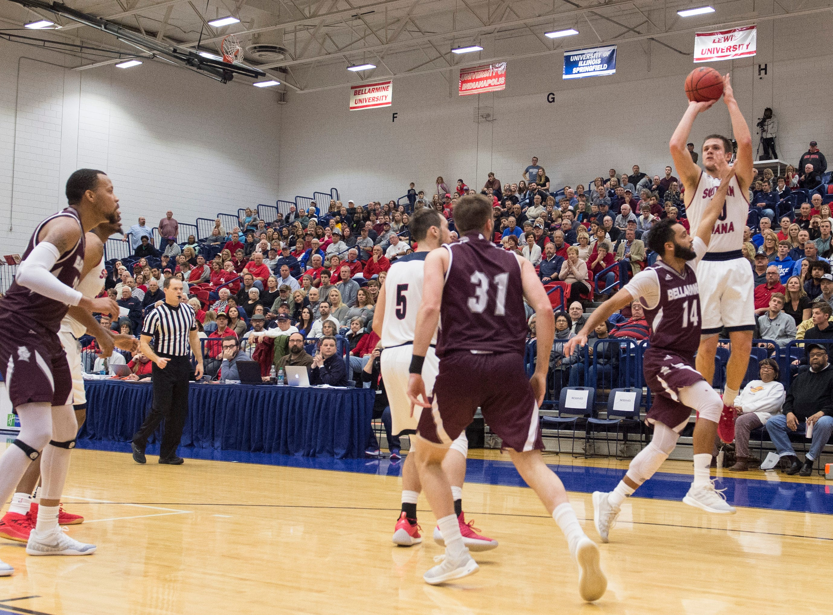 USI's Alex Stein (20) takes a 3-point shot during the USI vs Bellarmine game at the PAC Saturday, Dec. 1, 2018.