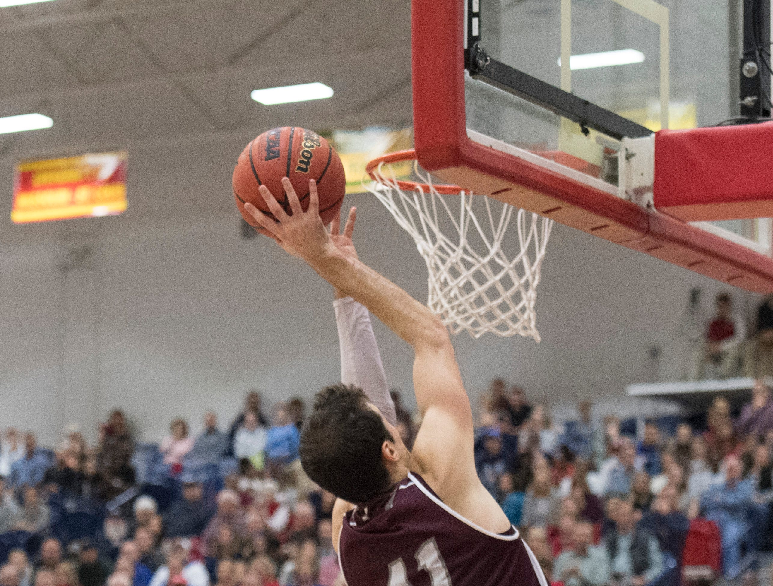 Bellarmine's Adam Eberhard (41) reaches for the basket during the USI vs Bellarmine game at the PAC Saturday, Dec. 1, 2018.