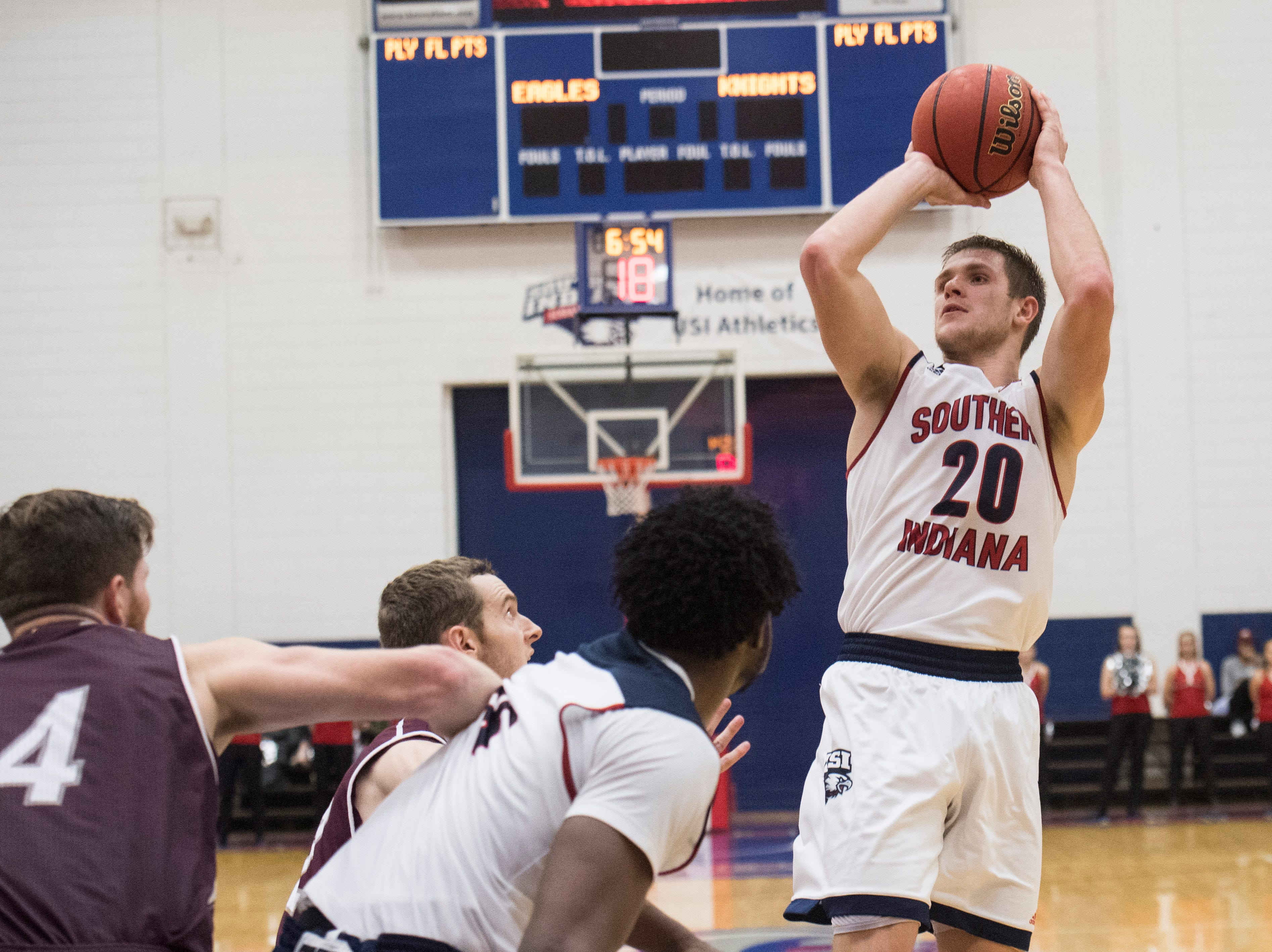 USI's Alex Stein (20) fires a jump shot during the USI vs Bellarmine game at the PAC Saturday, Dec. 1, 2018.