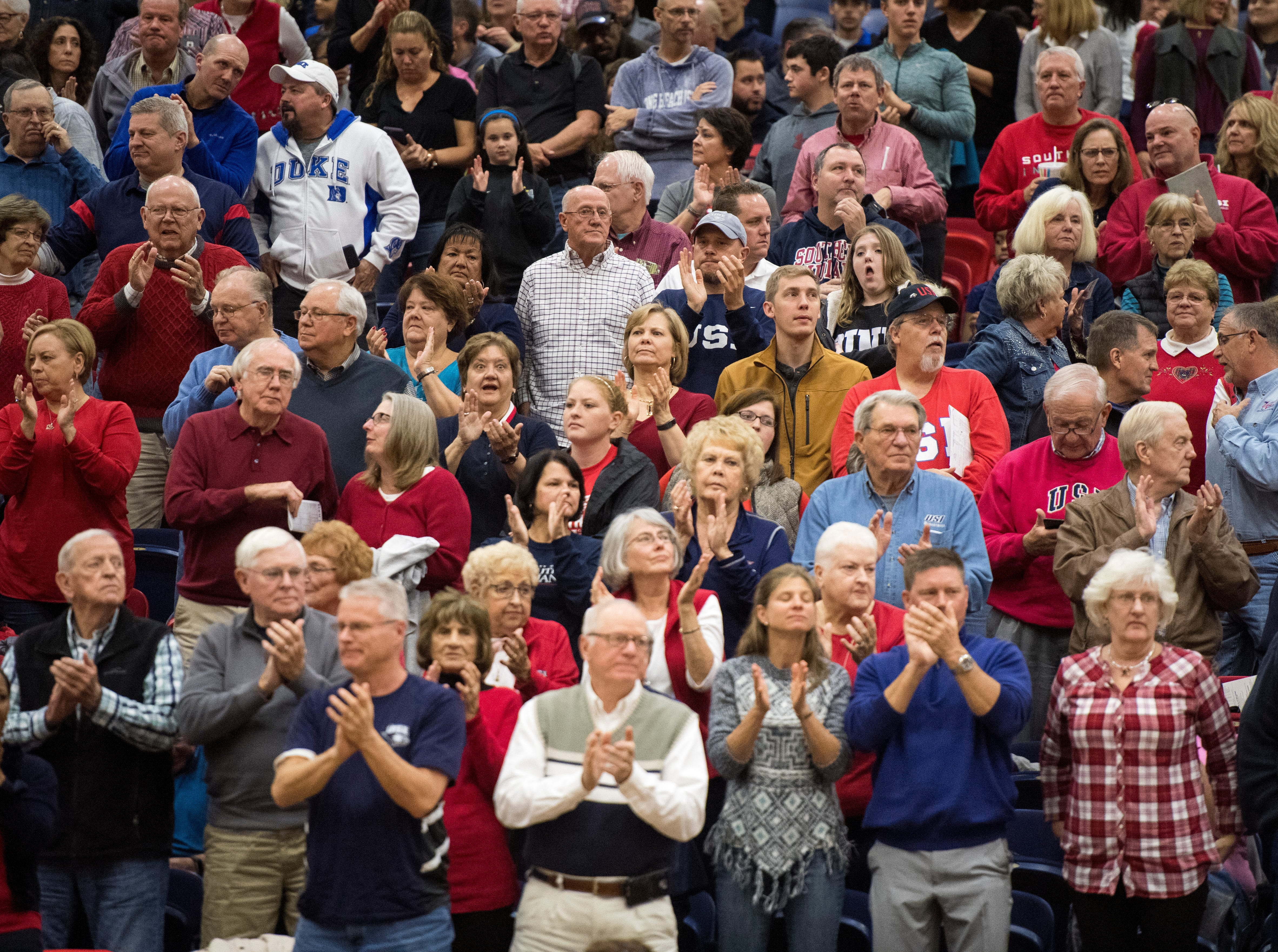 The stands were packed with fans at the PAC on the campus of the University of Southern Indiana during the USI vs Bellarmine basketball game Saturday, Dec. 1, 2018.