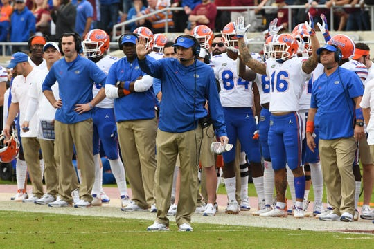 Florida head coach Dan Mullen on the sideline during the first quarter of the FSU game against UF at Doak Campbell Stadium on Novemeber 24, 2018.