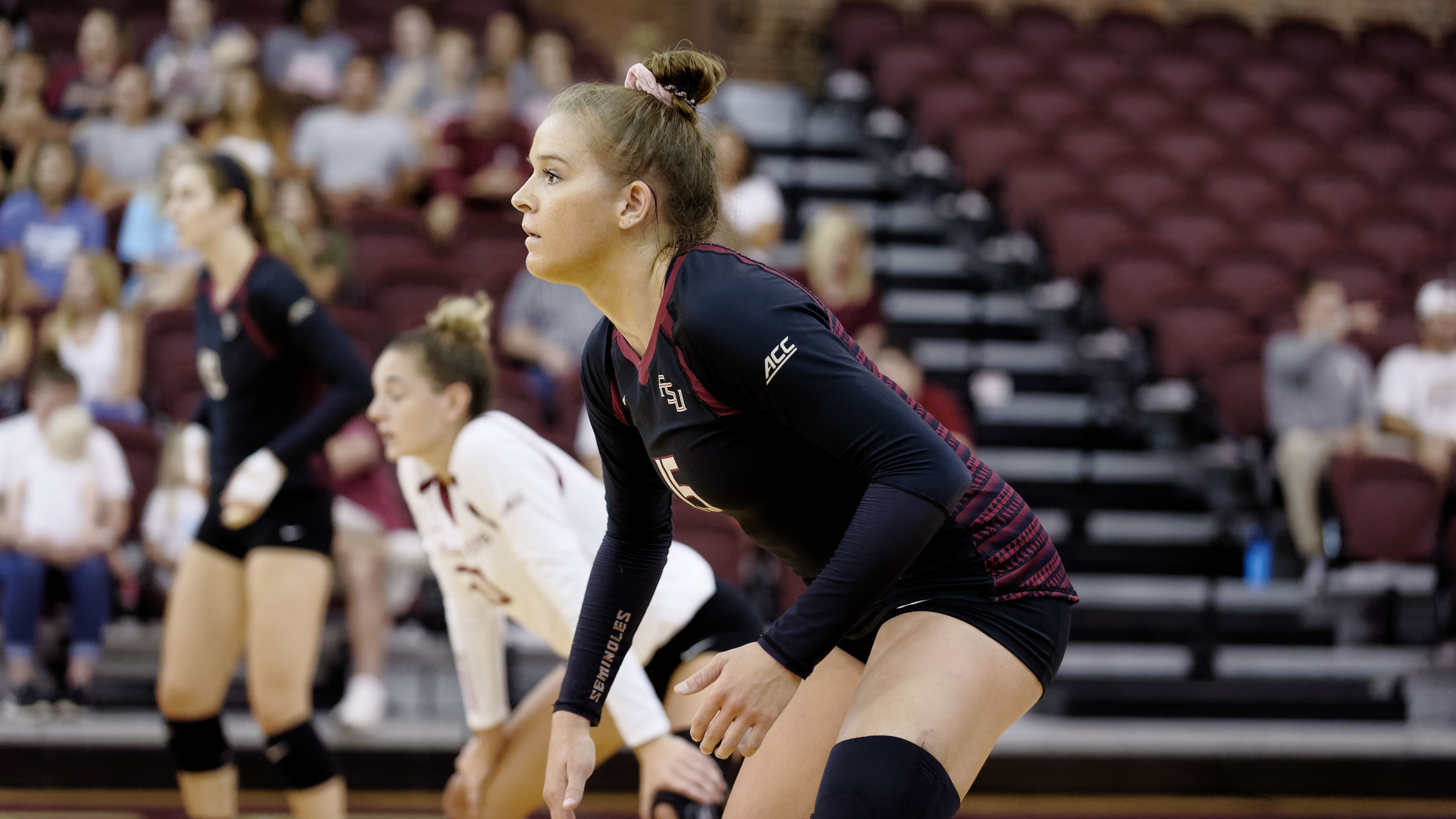 Florida State women's volleyball junior outside hitter Payton Caffrey sizes up the competition in a preseason scrimmage the University of South Alabama.