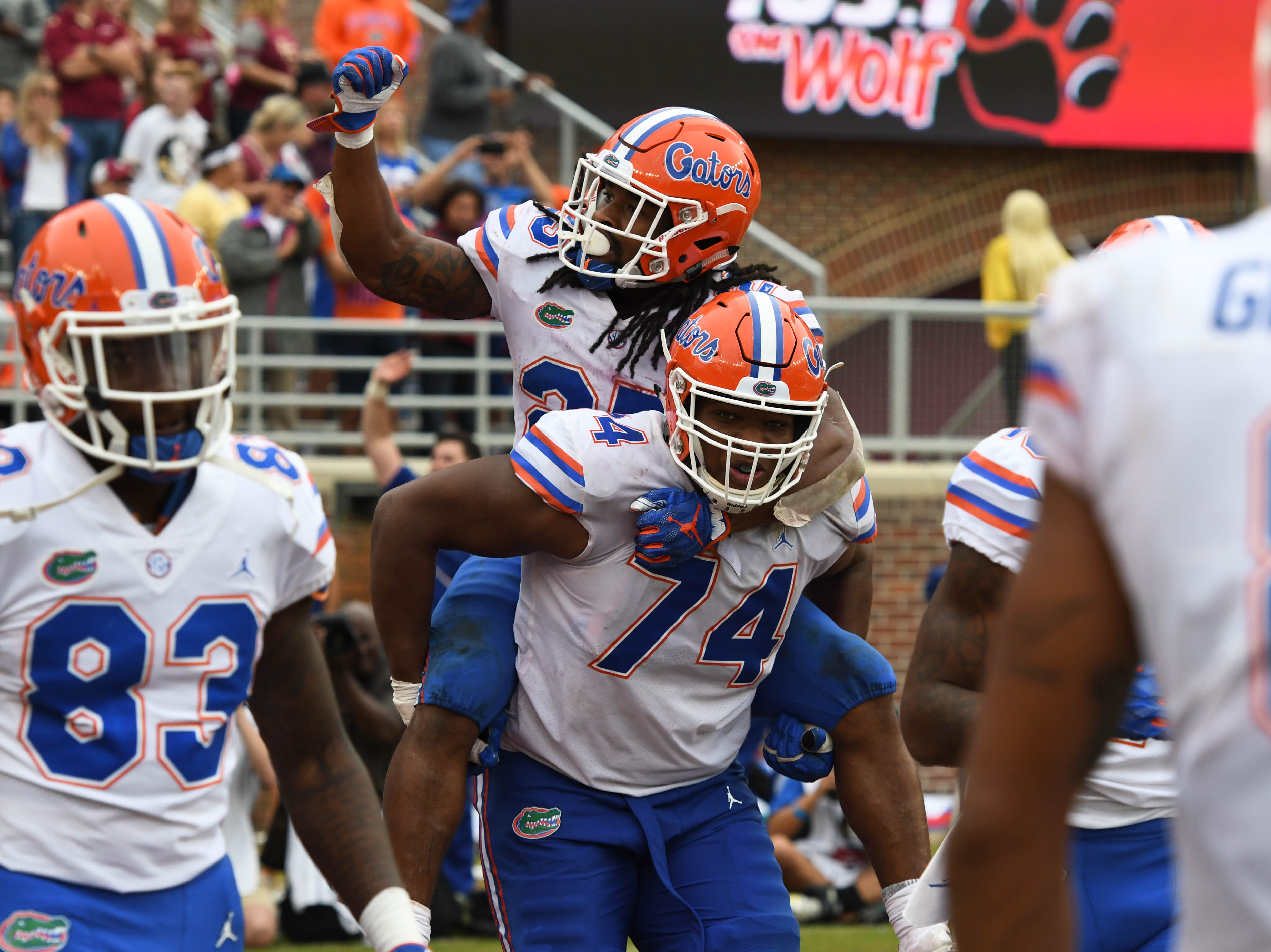 UF players celebrating after scoring a touchdown in the fourth quarter of the FSU game against UF at Doak Campbell Stadium on Novemeber 24, 2018.