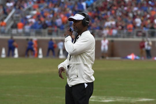 FSU head coach Willie Taggart on the sideline in the third quarter of the FSU game against UF at Doak Campbell Stadium on Novemeber 24, 2018.