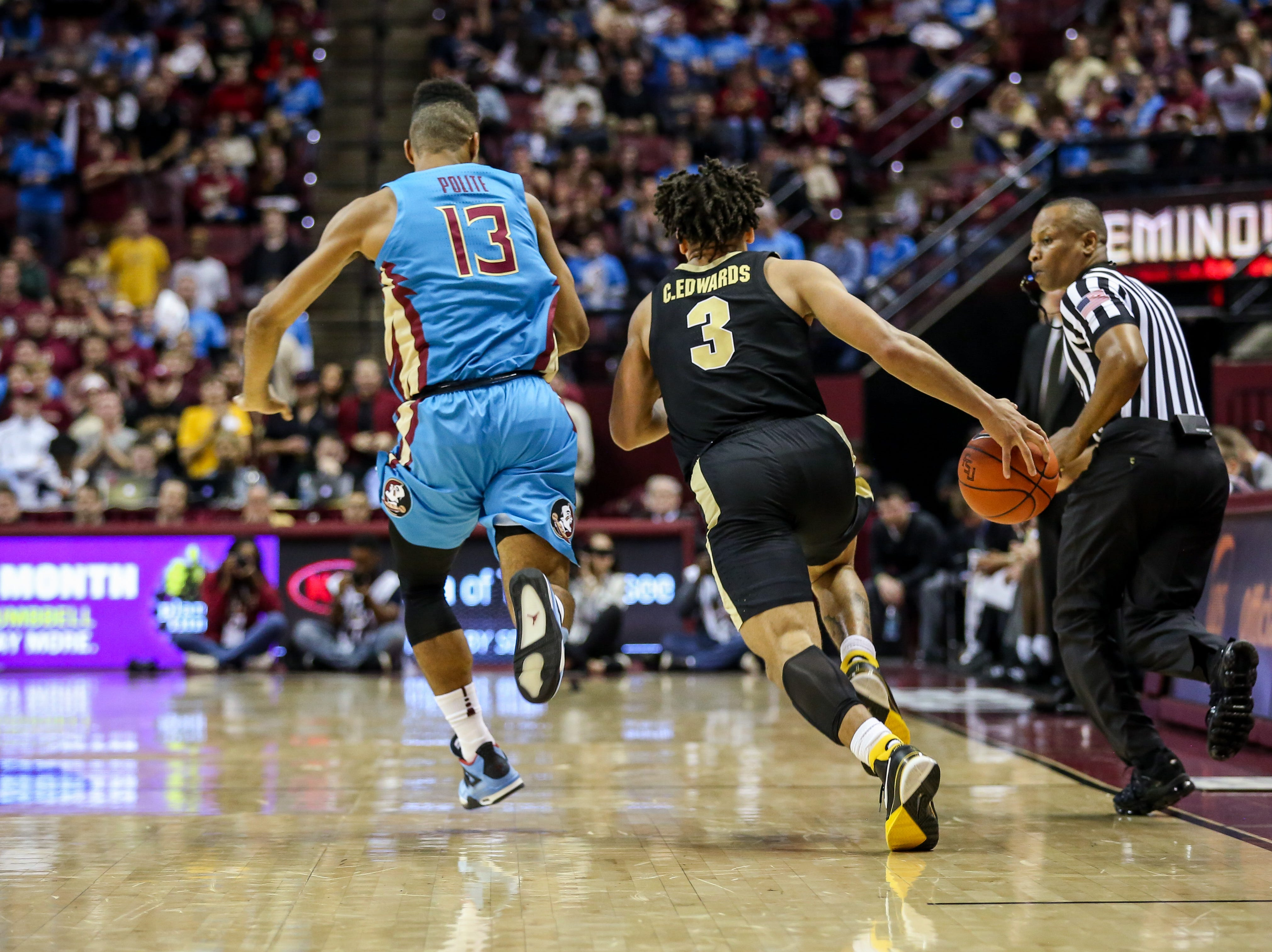 The Seminoles had a tough time controlling the speed and athleticism of Purdue's Guard Carsen Edwards (3) on Wednesday, November 28th.