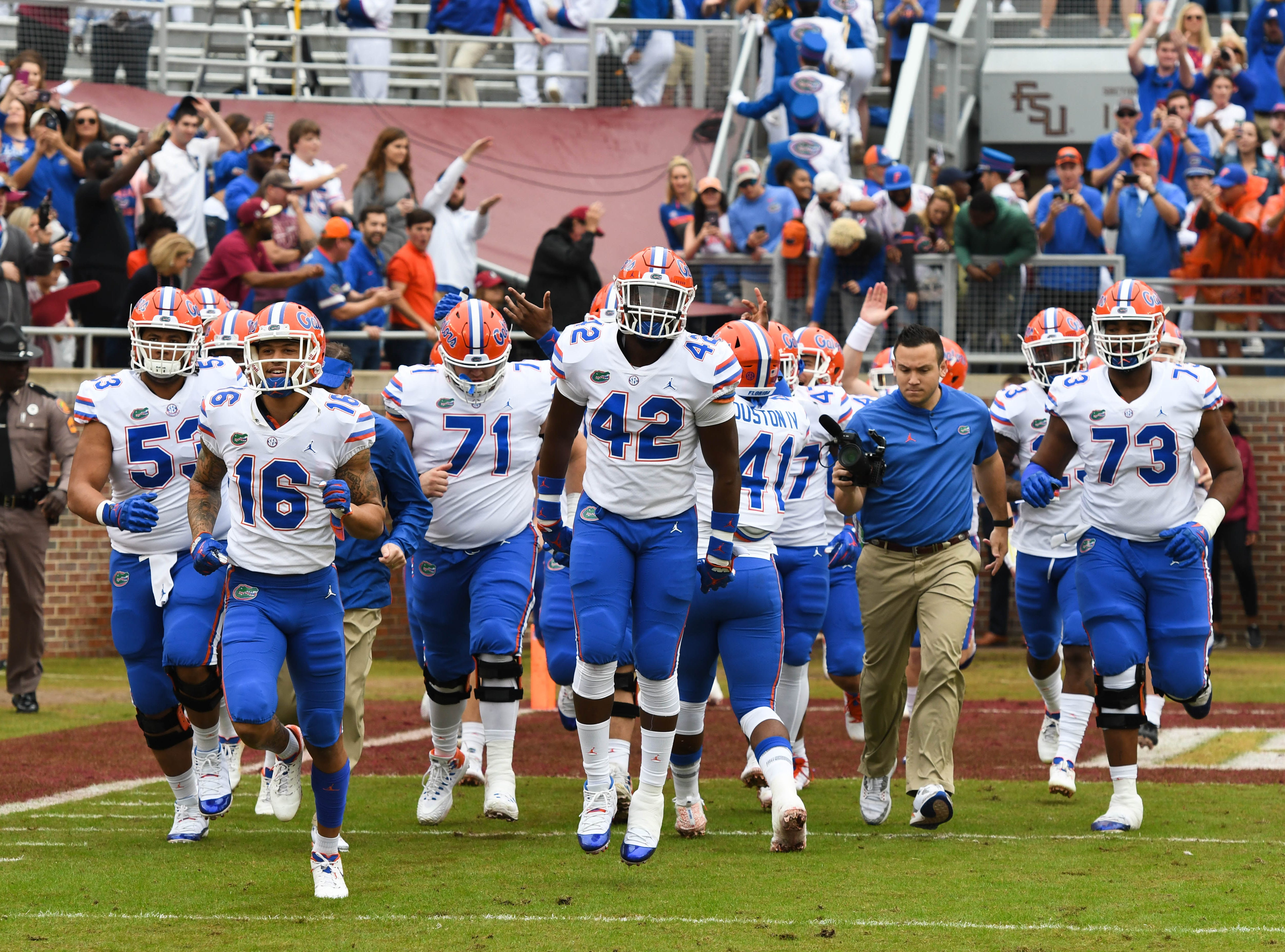 The Florida Gators running on to the field at Doak Campbell Stadium on November 24, 2018.