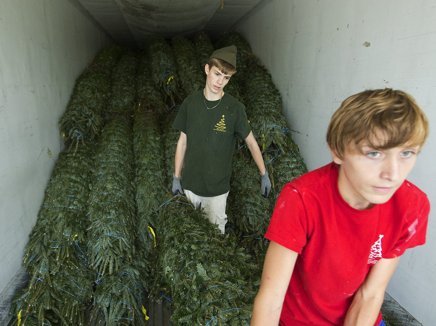 Seth Williams, 16, rear, and Nick Hodges, 15, of Boy Scout Troop 119, help unload more than 300 Christmas trees  Friday. KINFAY MOROTI/THE NEWS-PRESS… Seth Williams, 16, rear, and Nick Hodges, 15, of Boy Scout Troop 119, help unload more than 300 Christmas trees on Friday (11/34/17) at Cypress Lake United Methodist Church in south Fort Myers. The troop is selling the five to 10 foot tall premium Frasier fir trees to raise money for their summer camp. The sale begins today and ends when all the trees are sold. The hours are Monday thru Friday (4 p.m. to 9 p.m), Saturday (9 a.m. to 9 p.m.) and Sunday (12 p.m. to 9 p.m.). The church is located at the intersection of Winkler Avenue and Cypress Lake Drive.
