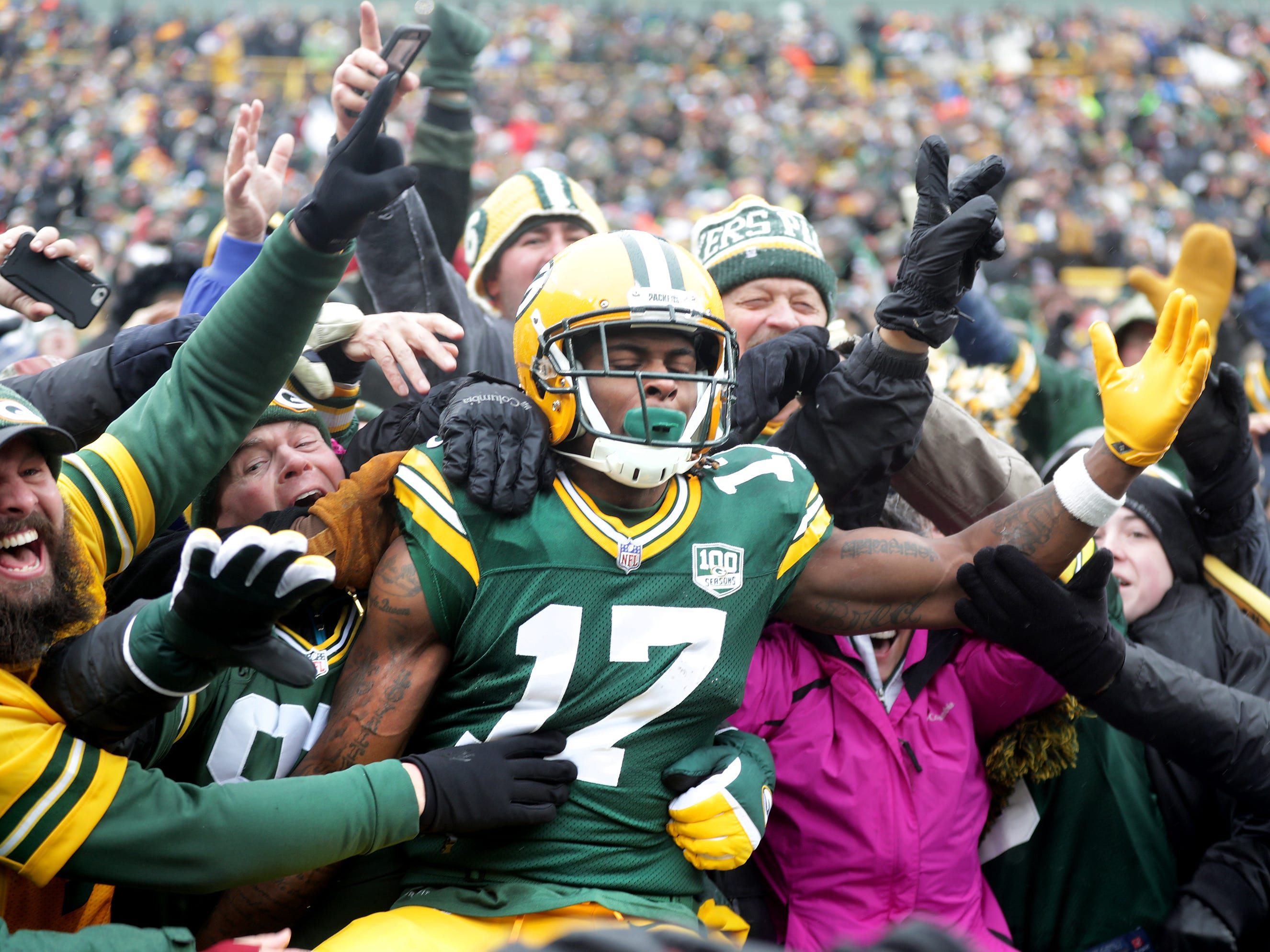 Green Bay Packers wide receiver Davante Adams celebrates an second quarter, fourth and four touchdown reception against the Arizona Cardinals during their football game on Sunday, December 2, 2018, at Lambeau Field in Green Bay, Wis. Wm. Glasheen/USA TODAY NETWORK-Wisconsin.