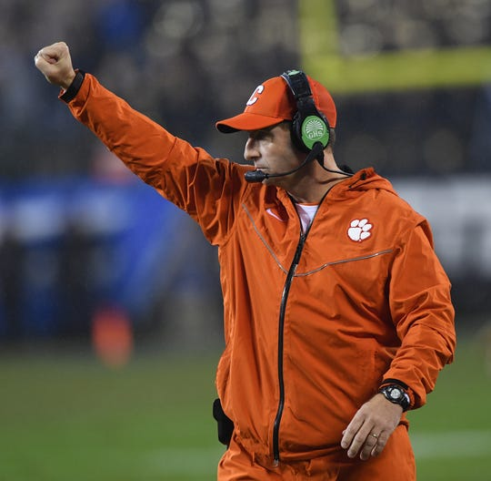 Clemson head coach Dabo Swinney coaches against Pittsburgh during the 1st quarter of the Dr. Pepper ACC Championship at Bank of America Stadium in Charlotte, N.C. Saturday, December 1, 2018.