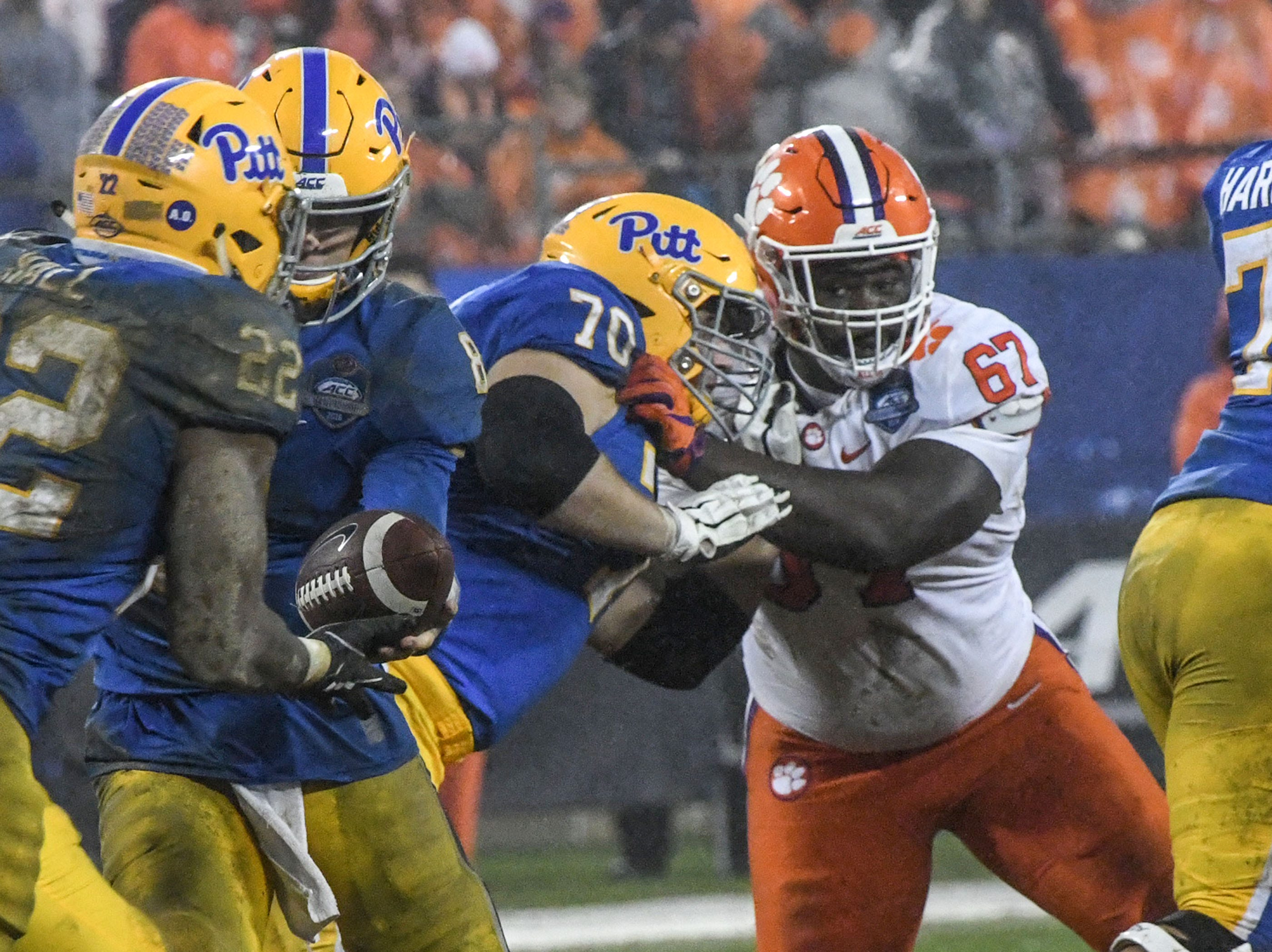 Clemson defensive lineman Albert Huggins (67) eyes Pittsburgh running back Darrin Hall during the fourth quarter in Memorial Stadium on Saturday, November 3, 2018.