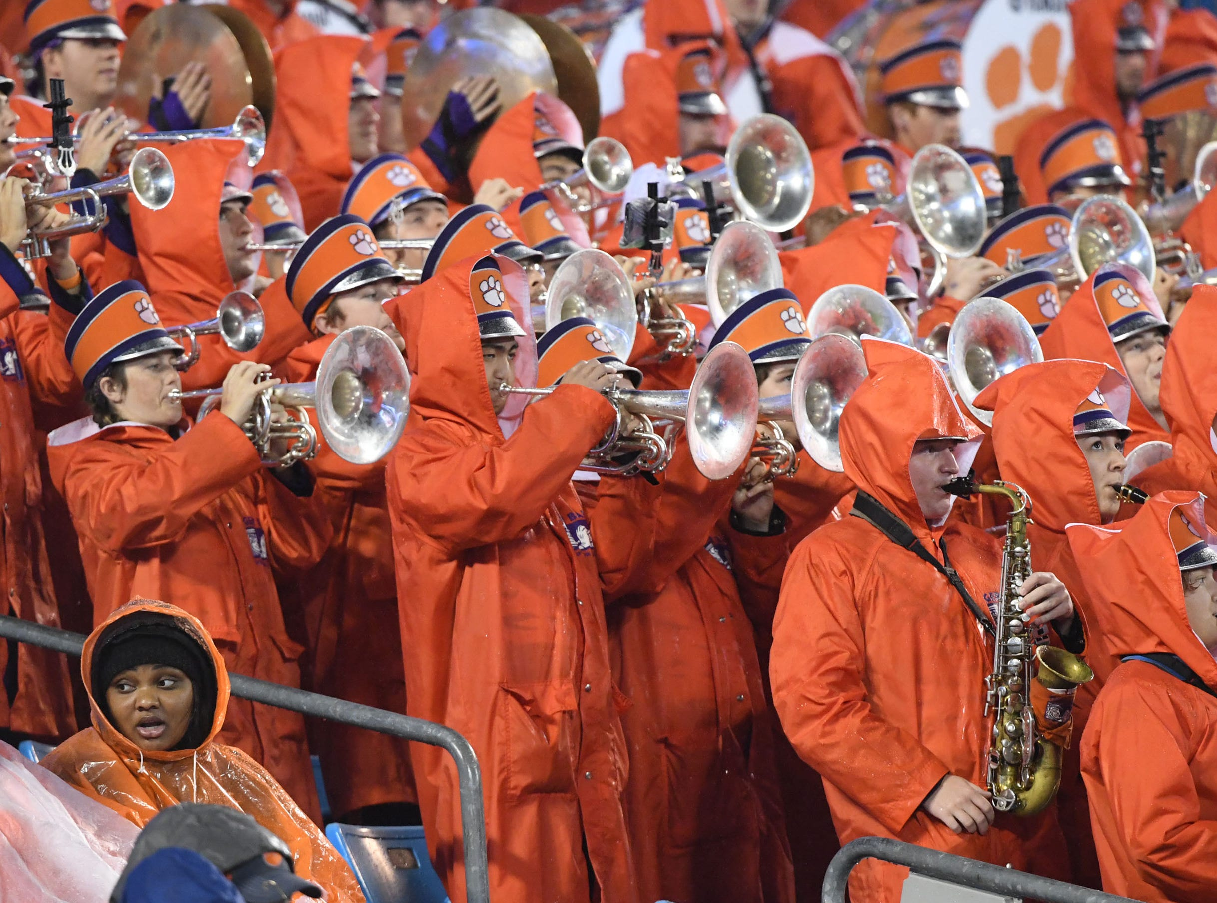 Clemson band plays during the first quarter of the Dr. Pepper ACC football championship at Bank of America Stadium in Charlotte, N.C. on Saturday, December 1, 2018.
