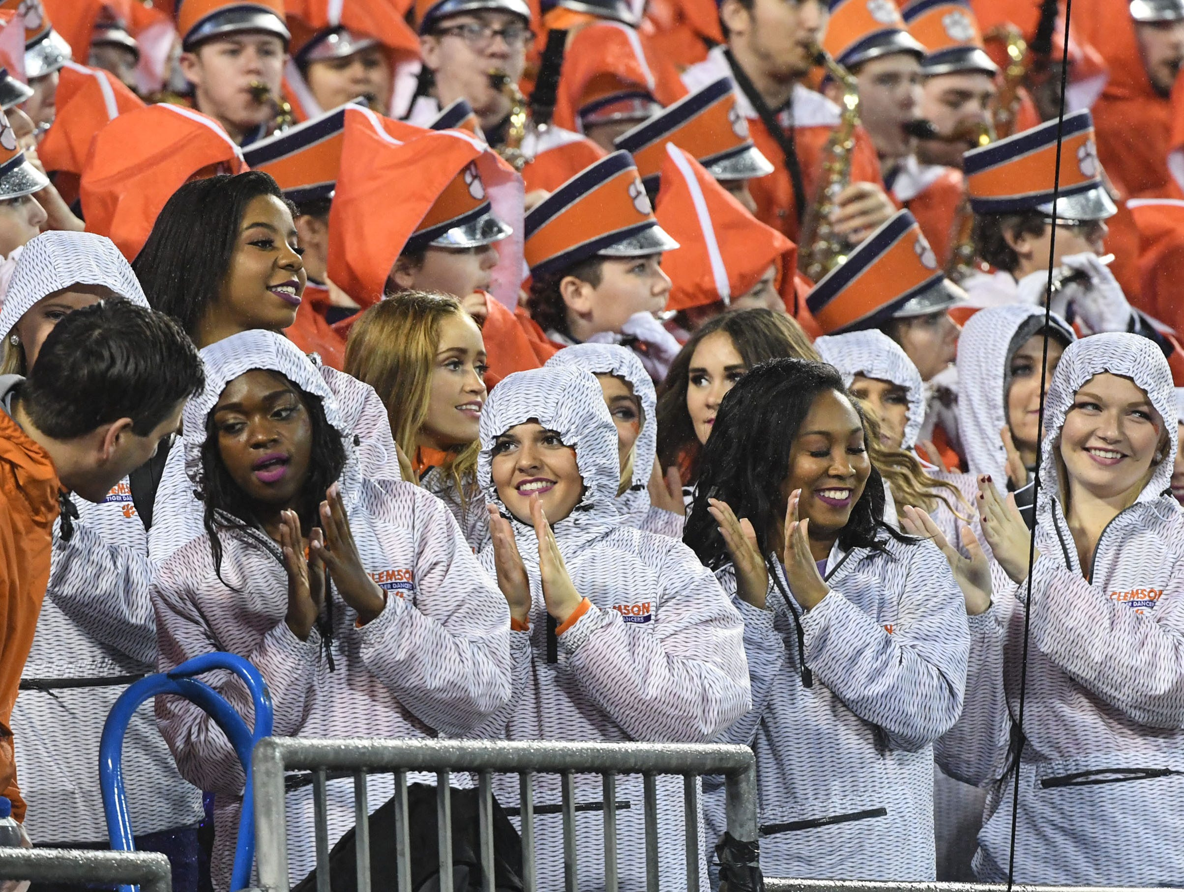 Clemson cheerleaders clap during the first quarter of the Dr. Pepper ACC football championship at Bank of America Stadium in Charlotte, N.C. on Saturday, December 1, 2018.