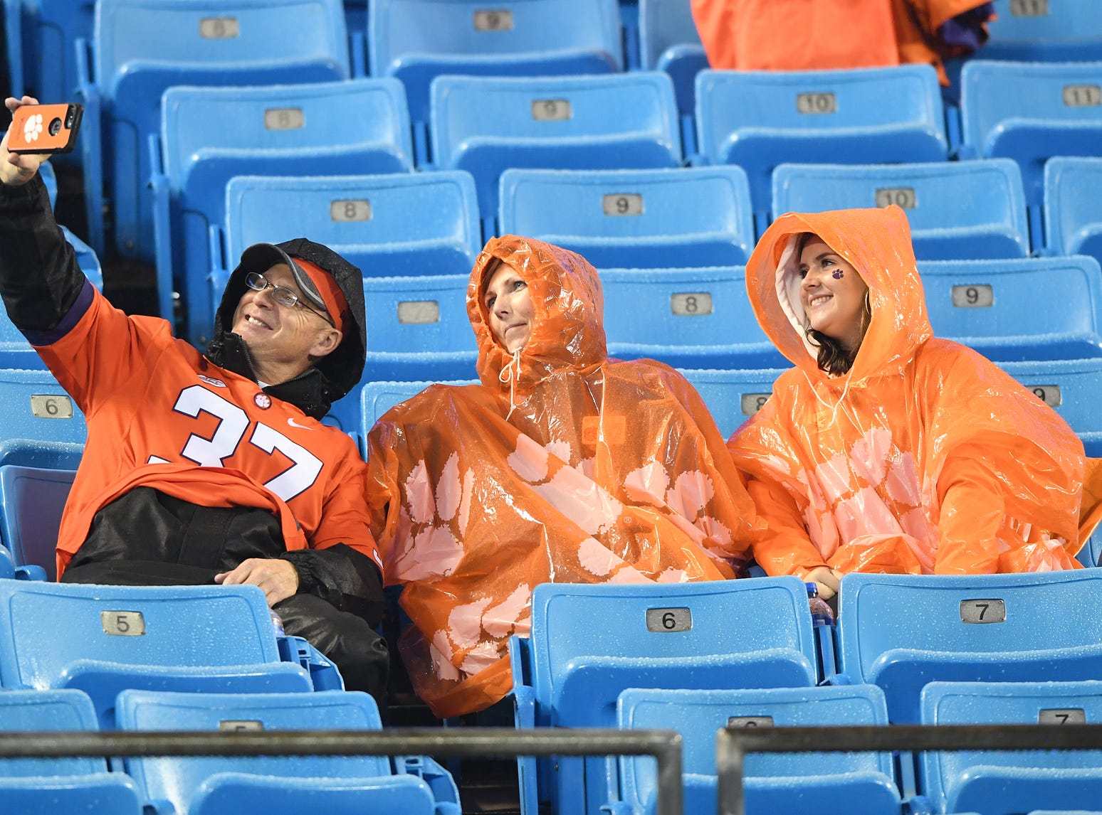 Clemson fans during pregame of the Dr. Pepper ACC Championship at Bank of America Stadium in Charlotte, N.C. Saturday, December 1, 2018.