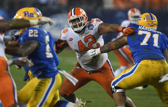 Clemson defensive lineman Christian Wilkins (42) plays against Pittsburgh during the 1st quarter of the Dr. Pepper ACC Championship at Bank of America Stadium in Charlotte, N.C. Saturday, December 1, 2018.