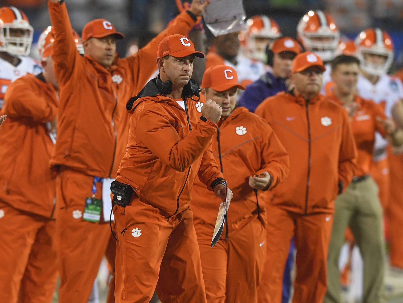 Clemson head coach Dabo Swinney during the 1st quarter of the Dr. Pepper ACC Championship at Bank of America Stadium in Charlotte, N.C. Saturday, December 1, 2018.
