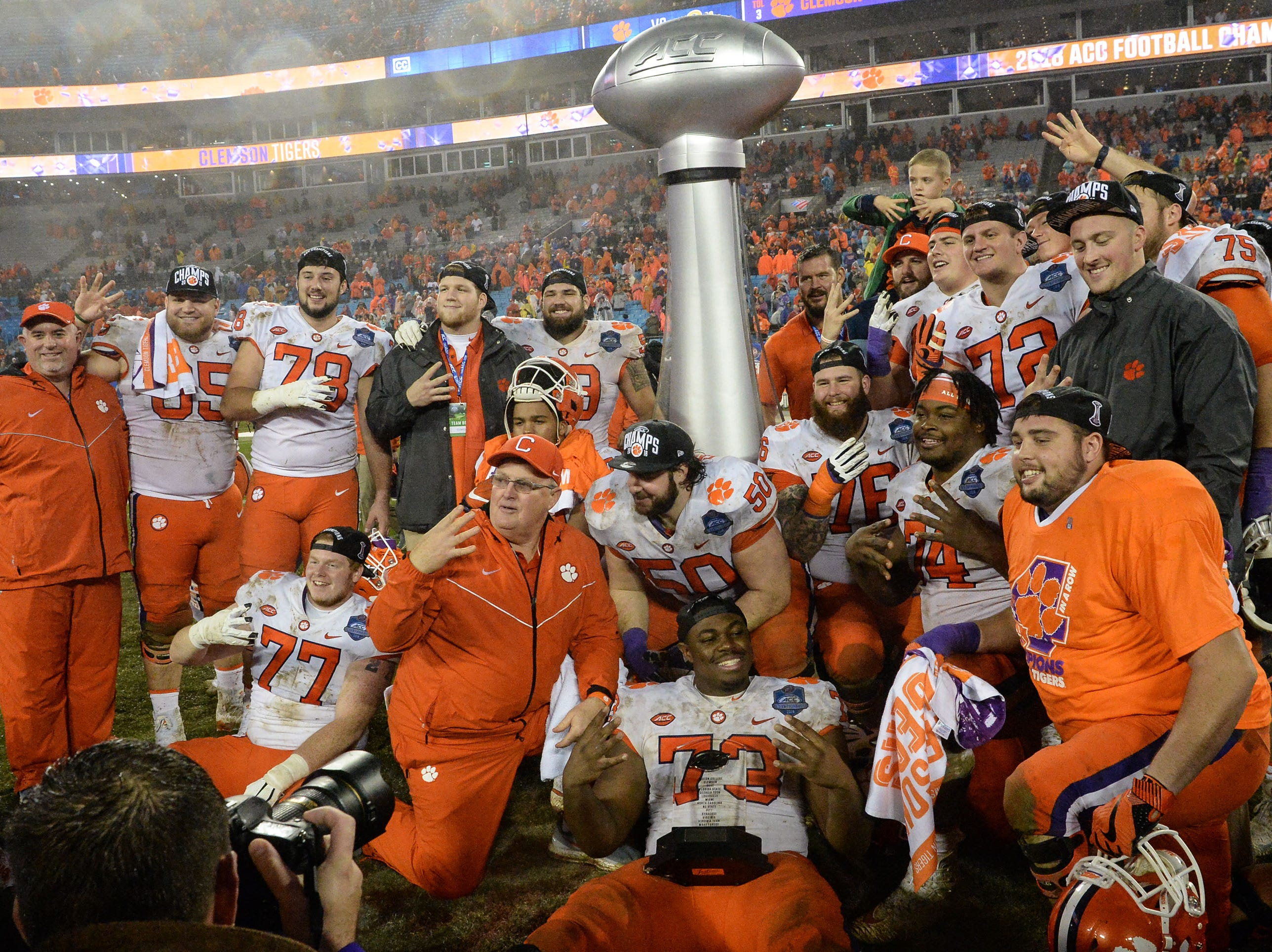Clemson offensive linemen pose for a photo after the win over Pitt.