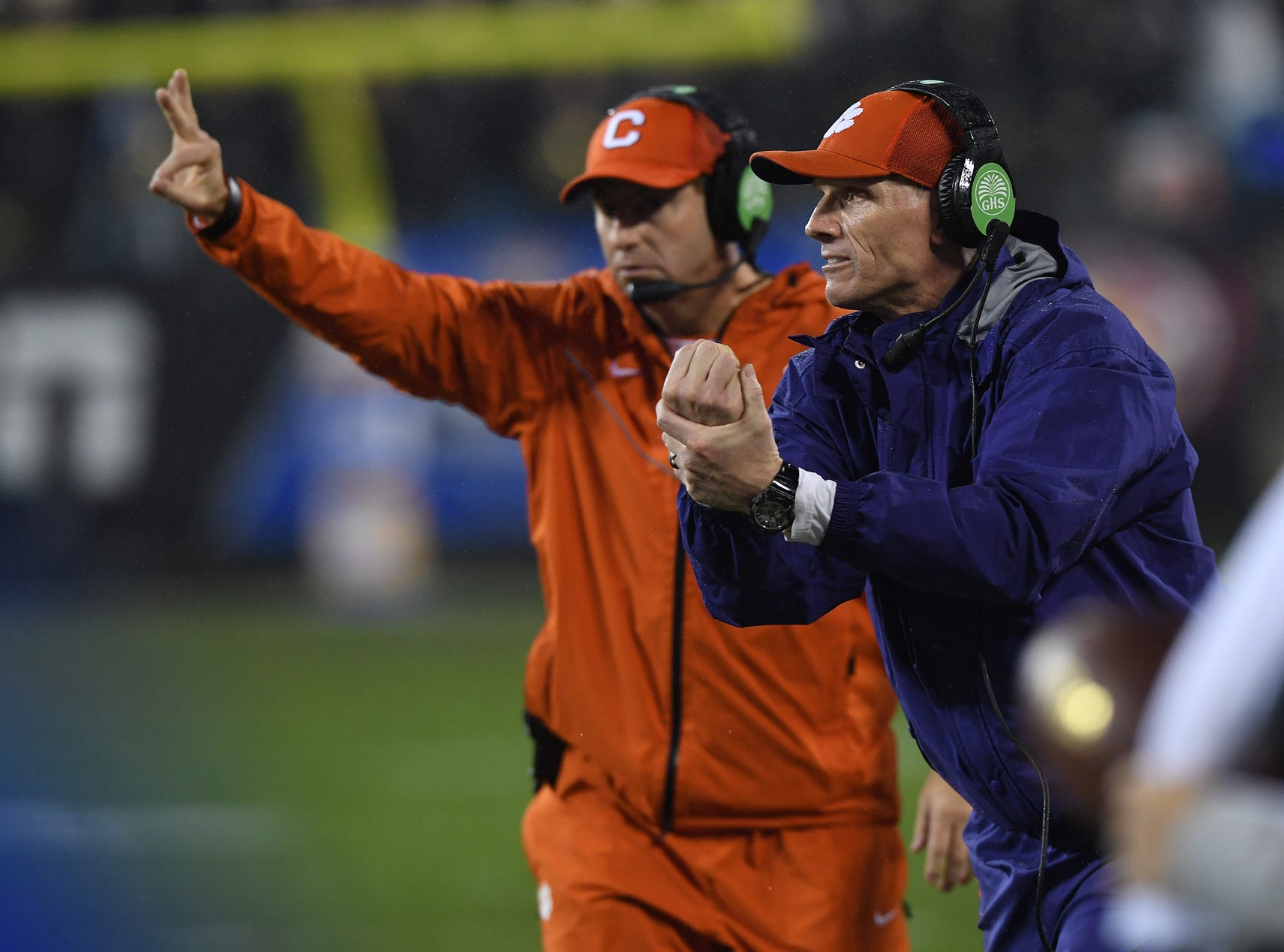 Clemson defensive coordinator Brent Venables and head coach Dabo Swinney coach against Pittsburgh during the 1st quarter of the Dr. Pepper ACC Championship at Bank of America Stadium in Charlotte, N.C. Saturday, December 1, 2018.