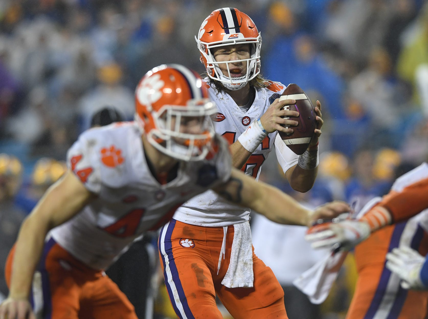 Clemson quarterback Trevor Lawrence (16) during the 4th quarter of the Dr. Pepper ACC Championship at Bank of America Stadium in Charlotte, N.C. Saturday, December 1, 2018.