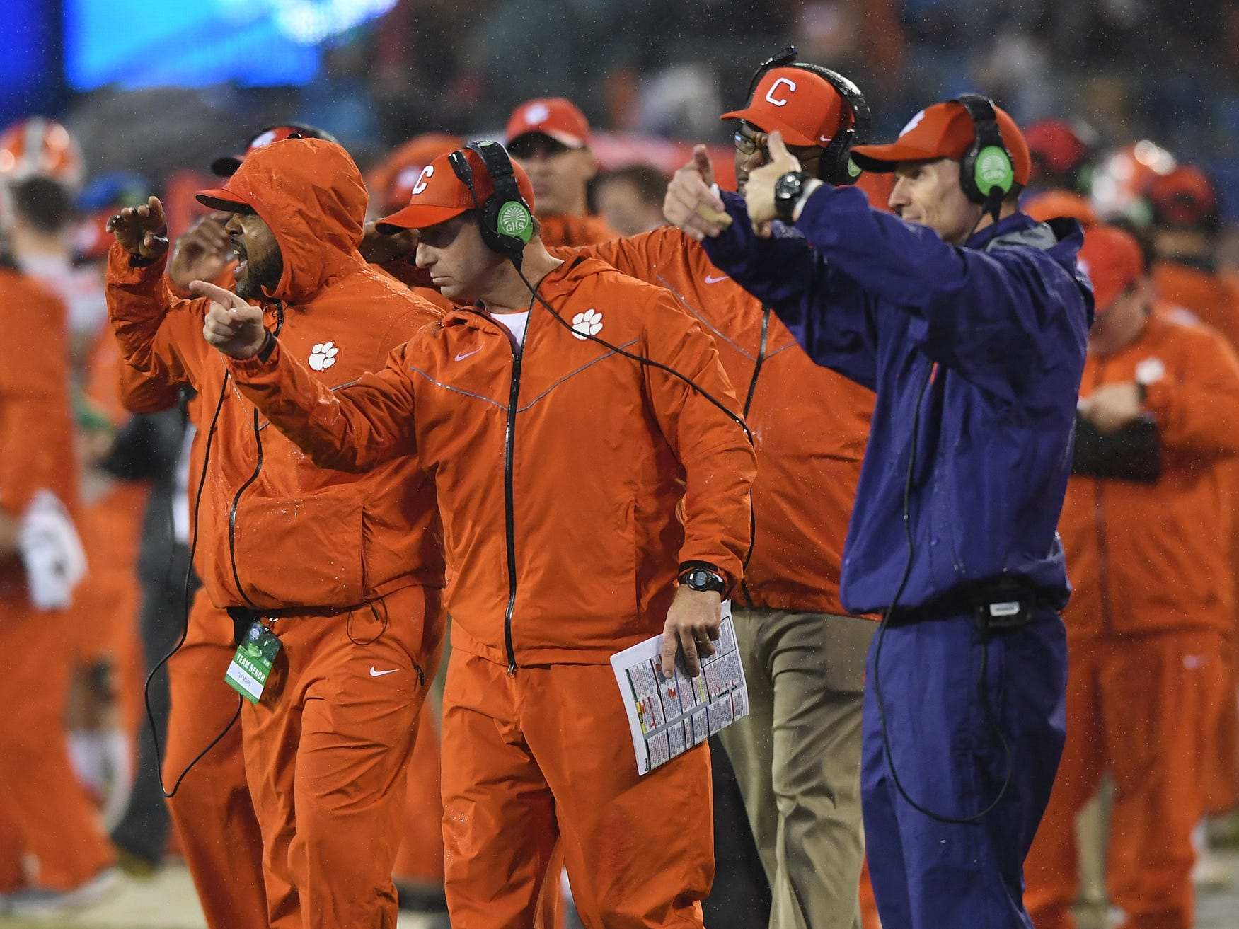 Clemson head coach Dabo Swinney during the 2nd quarter of the Dr. Pepper ACC Championship at Bank of America Stadium in Charlotte, N.C. Saturday, December 1, 2018.