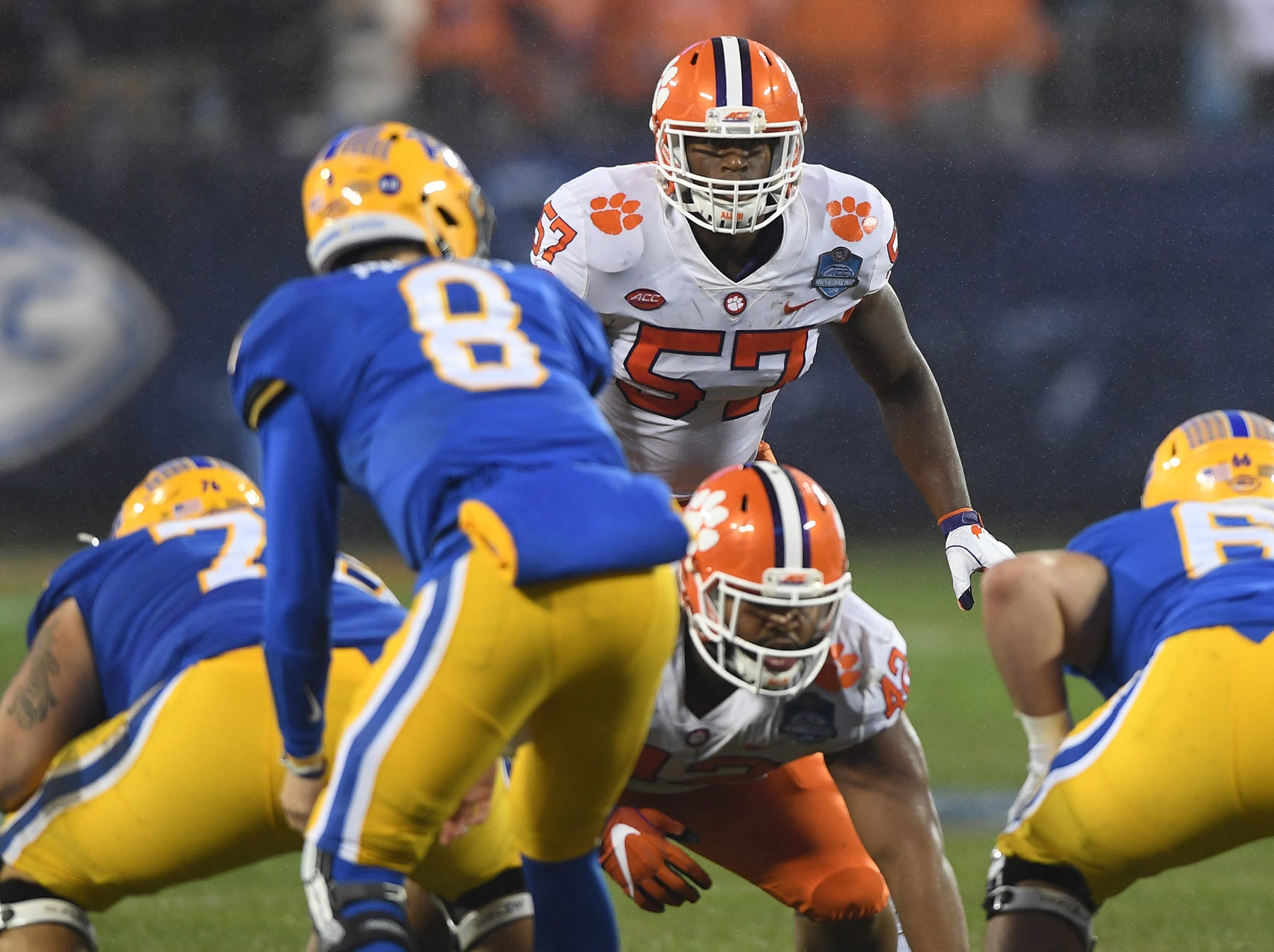 Clemson linebacker Tre Lamar (57) plays against Pittsburgh during the 1st quarter of the Dr. Pepper ACC Championship at Bank of America Stadium in Charlotte, N.C. Saturday, December 1, 2018.
