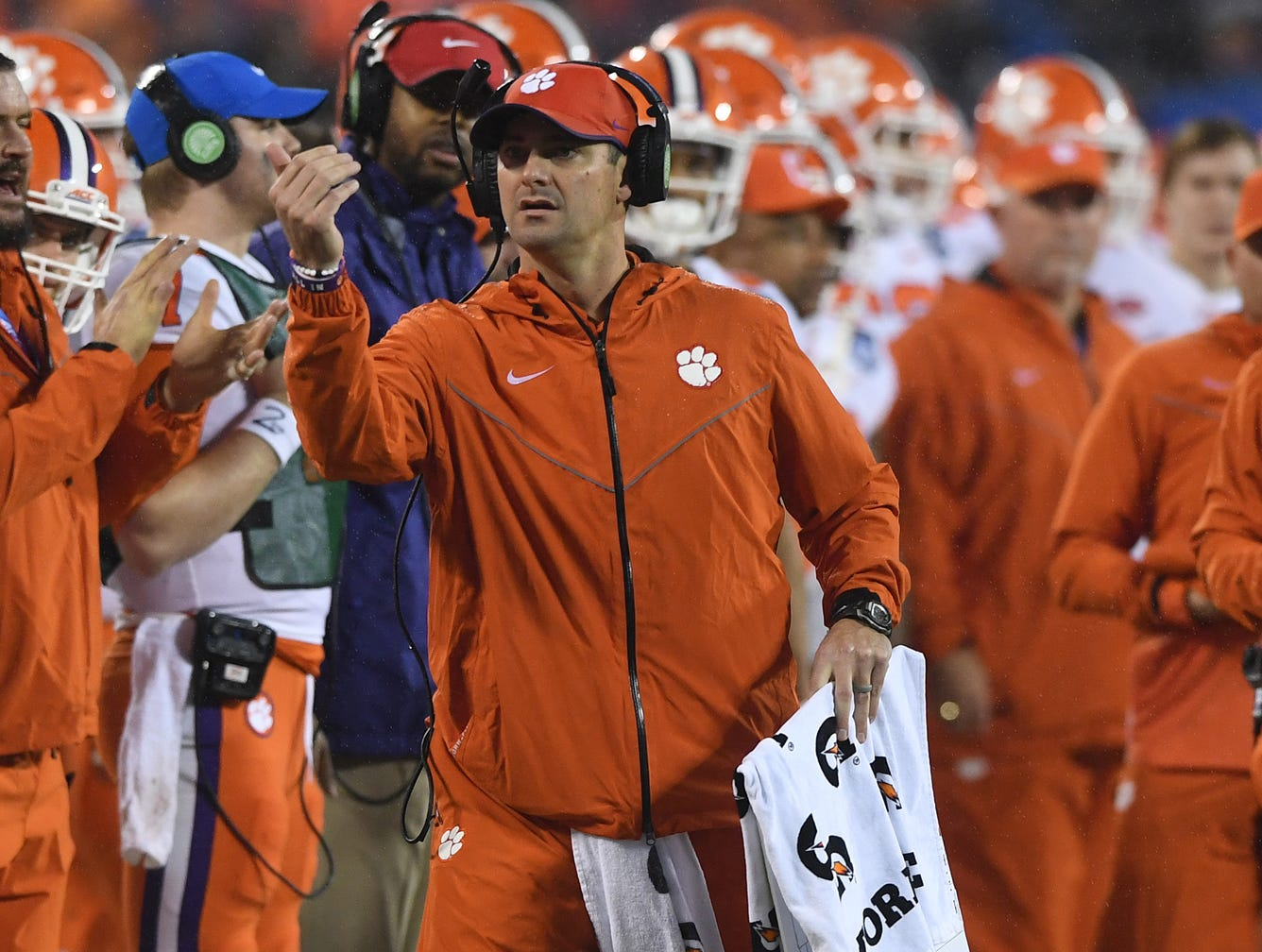 Clemson co-offensive coordinator Jeff Scott during the 1st quarter of the Dr. Pepper ACC Championship at Bank of America Stadium in Charlotte, N.C. Saturday, December 1, 2018.