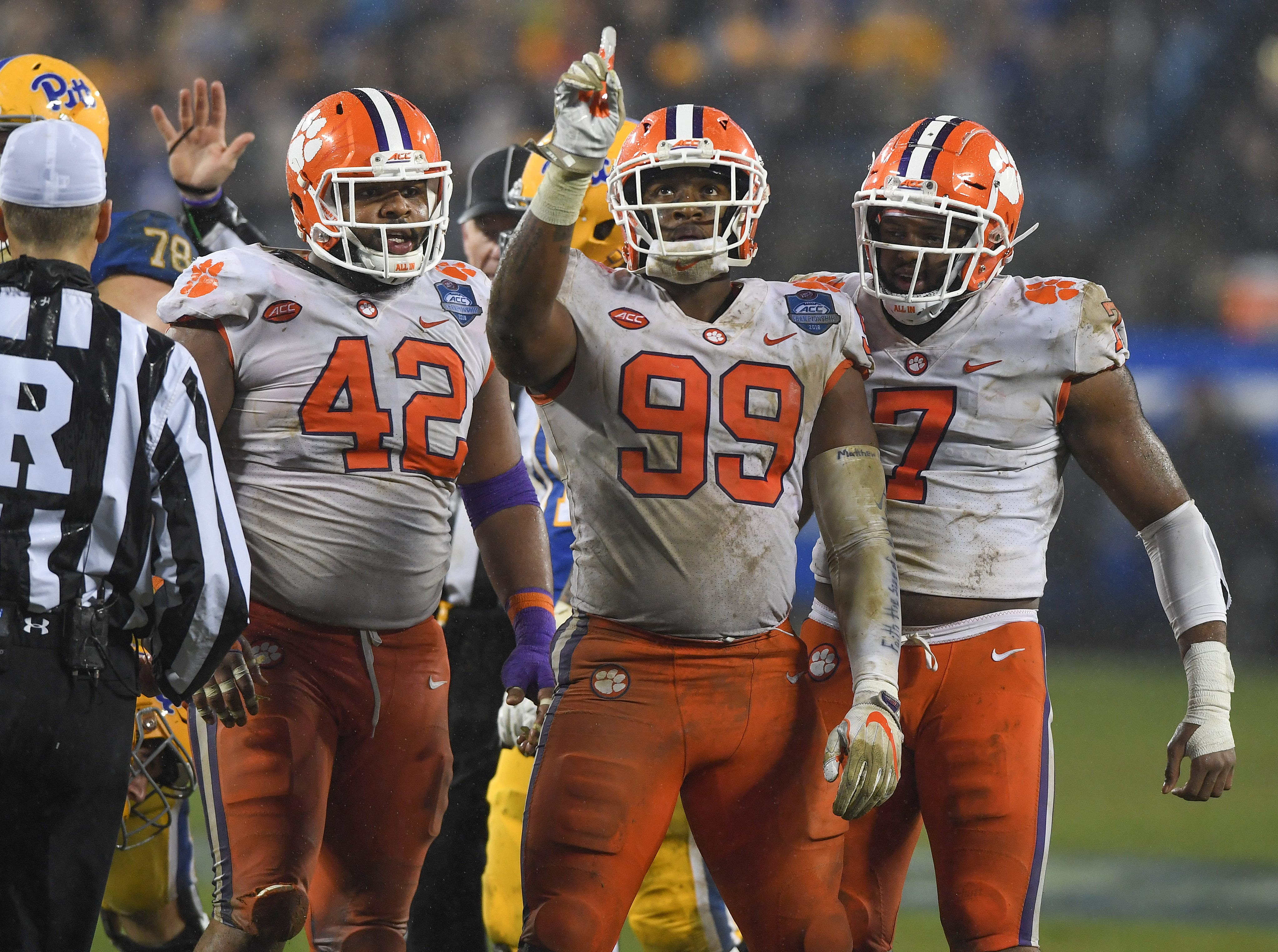 Clemson defensive lineman Clelin Ferrell (99) points skyward after a defensive stop against Pittsburgh during the 2nd quarter of the Dr. Pepper ACC Championship at Bank of America Stadium in Charlotte, N.C. Saturday, December 1, 2018.