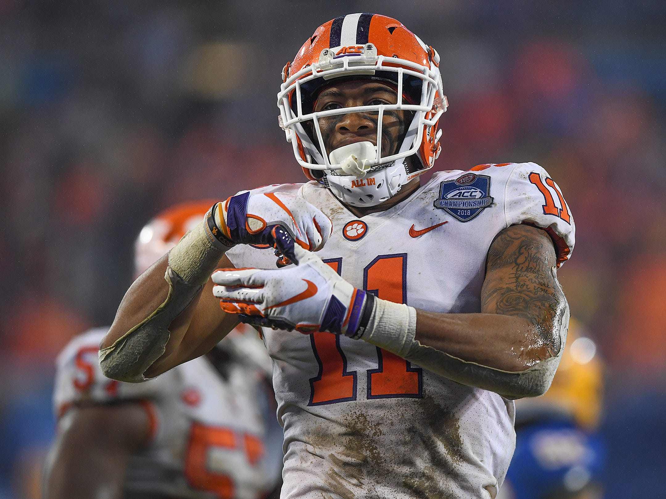 Clemson safety Isaiah Simmons (11) celebrates after a defensive stop against Pittsburgh during the 4th quarter of the Dr. Pepper ACC Championship at Bank of America Stadium in Charlotte, N.C. Saturday, December 1, 2018.