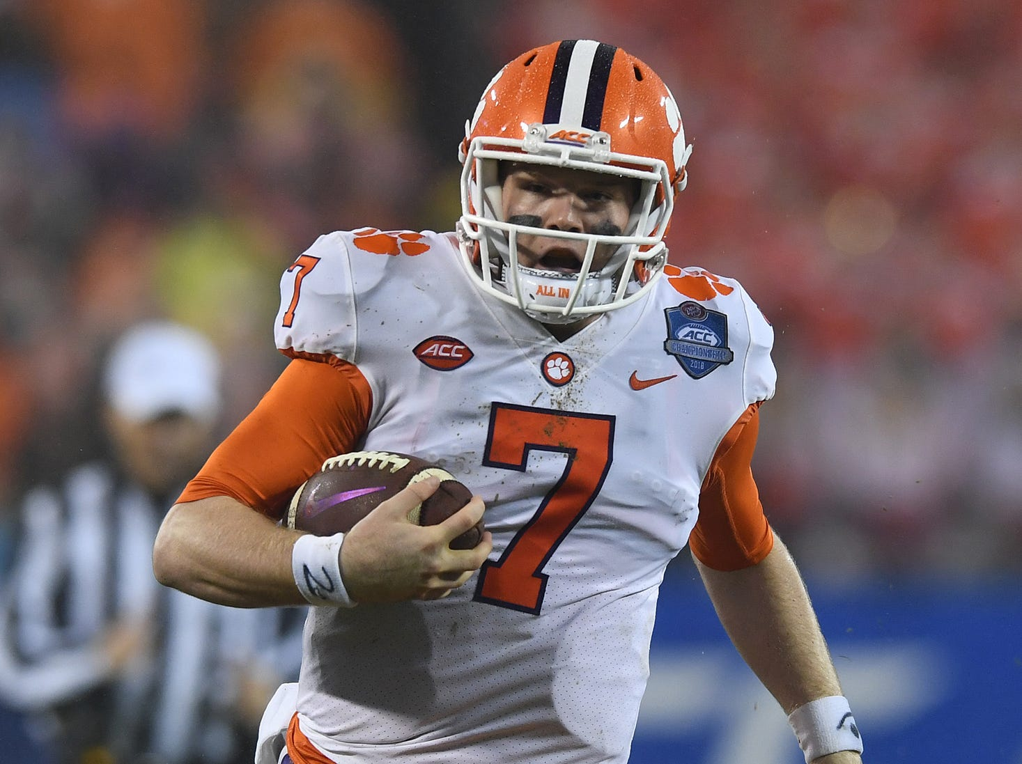 Clemson quarterback Chase Brice (7) scrambles for yardage against Pittsburgh during the 4th quarter of the Dr. Pepper ACC Championship at Bank of America Stadium in Charlotte, N.C. Saturday, December 1, 2018.