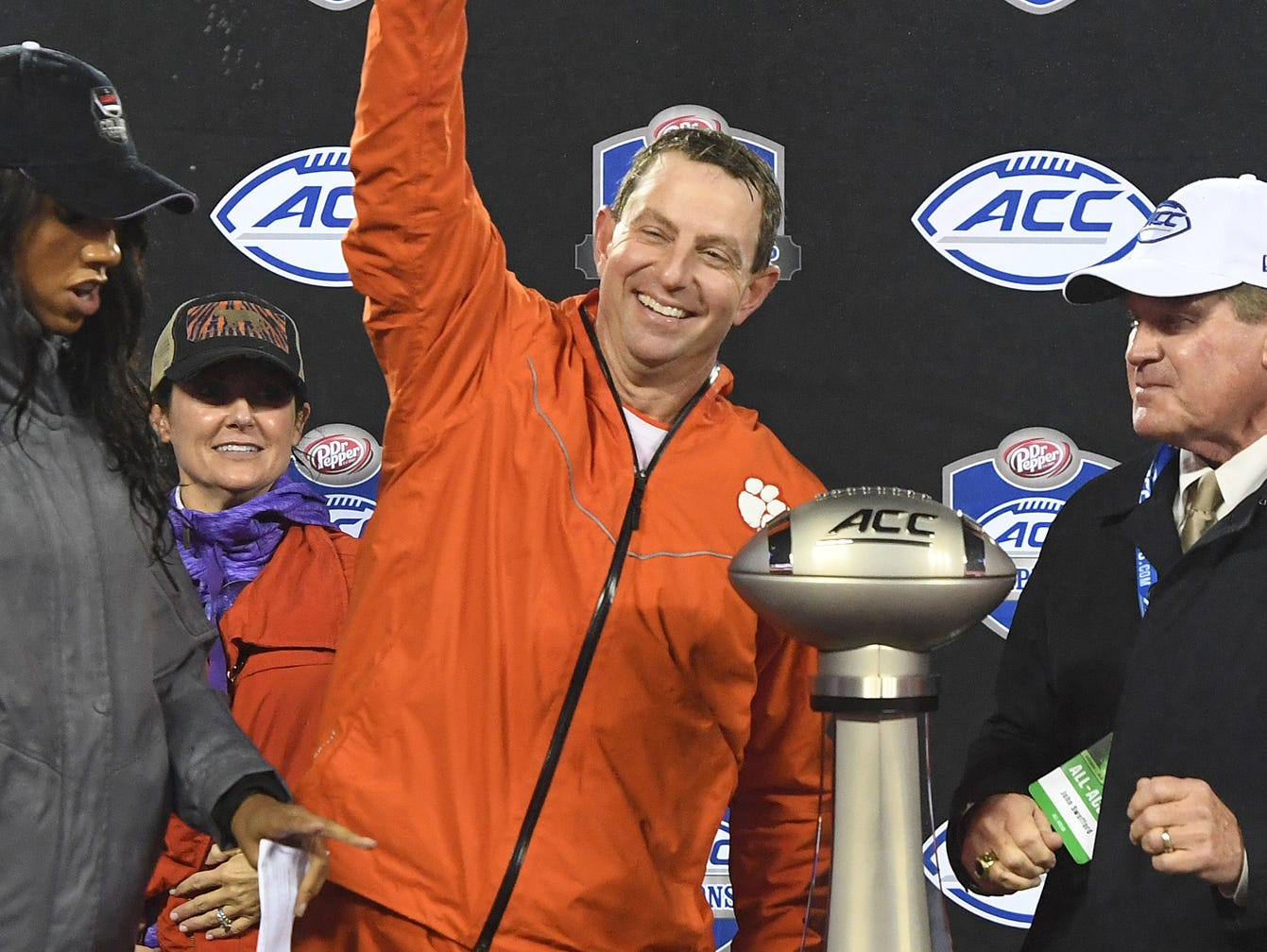 Clemson head coach Dabo Swinney with the Dr. Pepper ACC Championship trophy after the Tigers 42-10 win over Pittsburgh at Bank of America Stadium in Charlotte, N.C. Saturday, December 1, 2018.