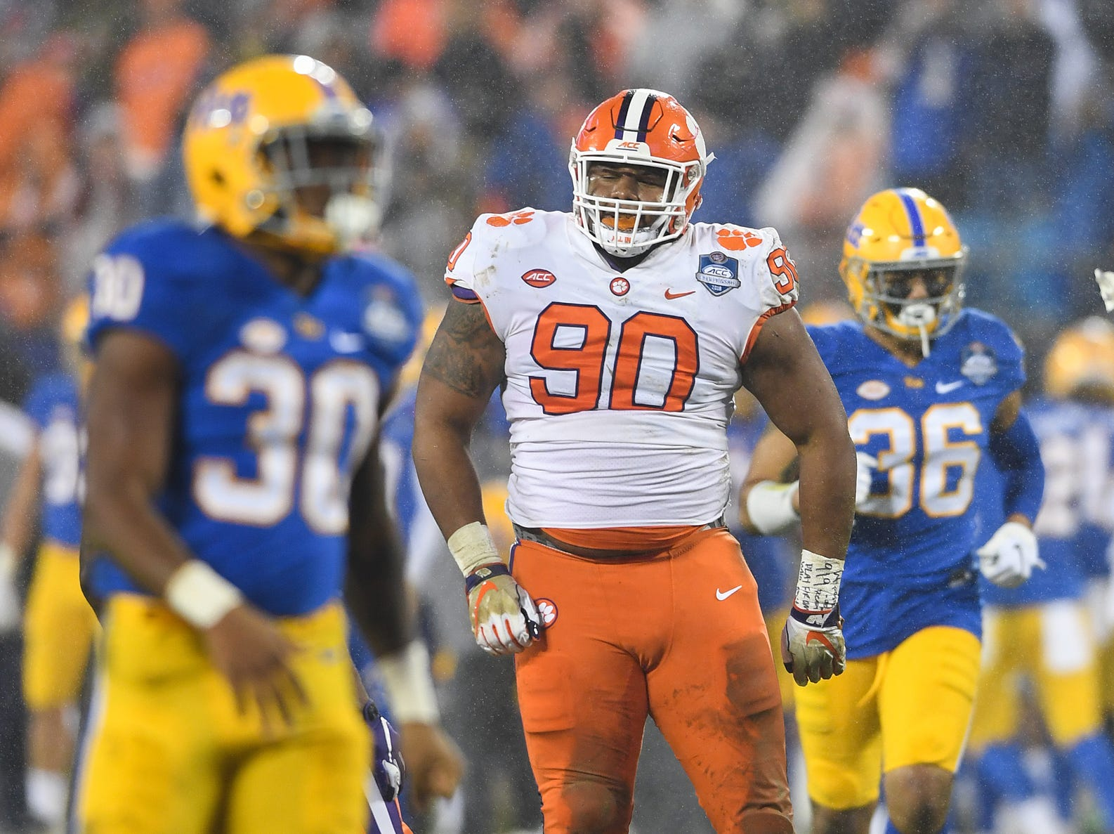Clemson defensive lineman Dexter Lawrence (90) plays against Pittsburgh during the 1st quarter of the Dr. Pepper ACC Championship at Bank of America Stadium in Charlotte, N.C. Saturday, December 1, 2018.
