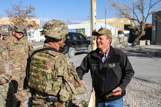Sen. Steve Daines visited members of the 495 Combat Sustainment Support Battalion in Afghanistan.