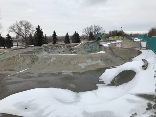 A Saturday storm left the city of Great Falls with a light coating of snow including the skate park in Riverside Park.