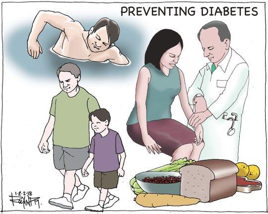 Preventing diabetes. Editorial cartoon 12/2/18