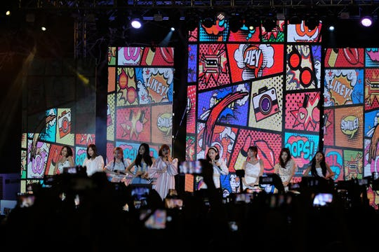 The South Korean K-pop group Twice performs at the MBC Music K-Pop Concert Saturday evening, December 1, 2018 at the Governor Joseph Flores Memorial Park.