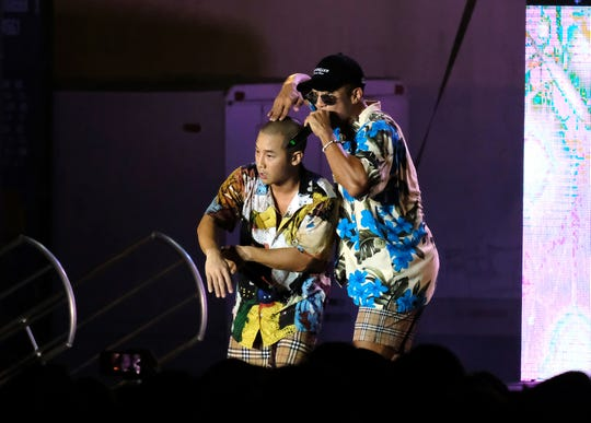 The k-pop duo Mighty Mouth perfroms at the MBC Music K-Pop Concert Saturday evening, December 1, 2018 at the Governor Joseph Flores Memorial Park.