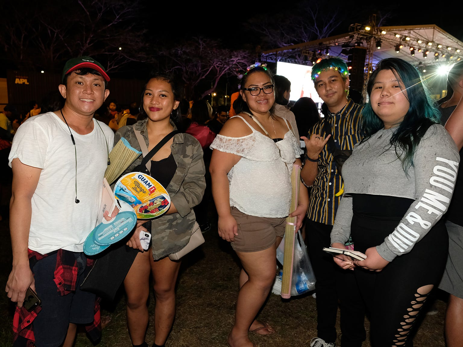 From left, K-pop fans Lloyd Halina, Eliza Torres, Raylani Meno, Terence Gogue and Amber Babauta at the MBC Music K-Pop Concert Saturday evening, December 1, 2018 at the Governor Joseph Flores Memorial Park.