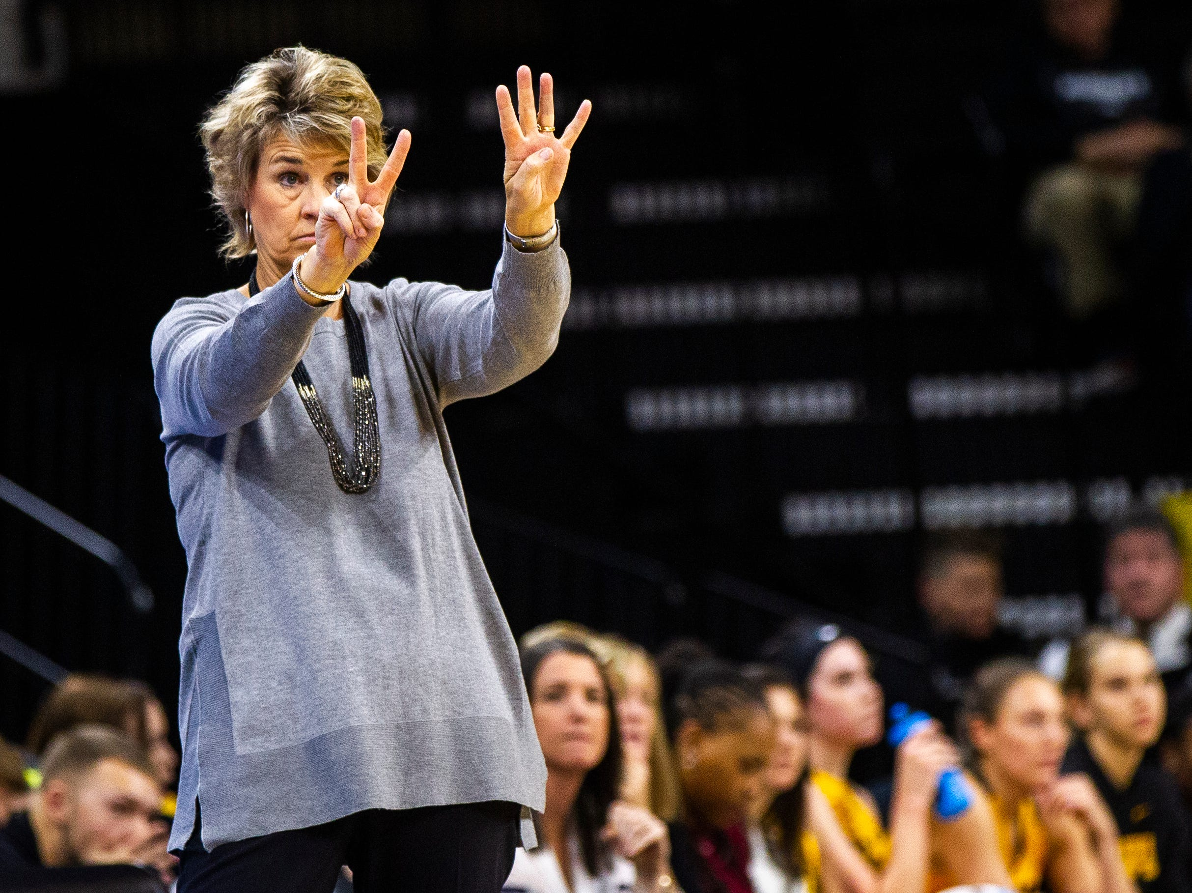 Iowa head coach Lisa Bluder calls out during a NCAA women's basketball game on Sunday, Dec. 2, 2018, at Carver-Hawkeye Arena in Iowa City.