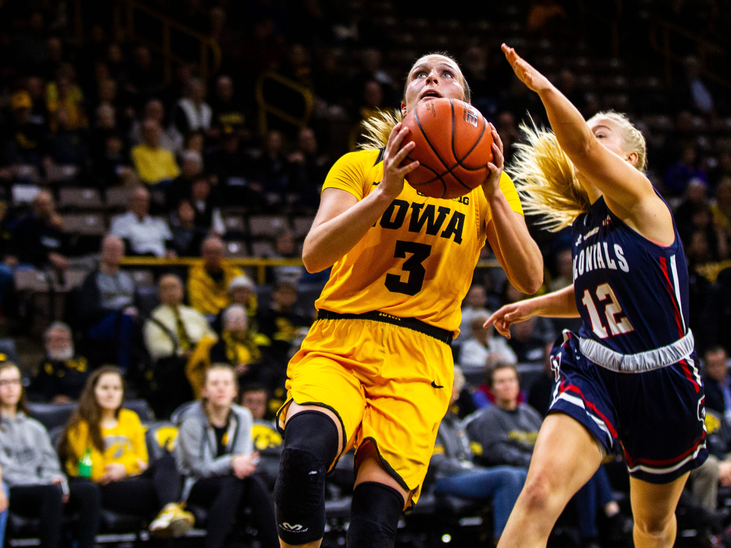 Iowa guard Makenzie Meyer (3) drives to the hoop during a NCAA women's basketball game on Sunday, Dec. 2, 2018, at Carver-Hawkeye Arena in Iowa City.