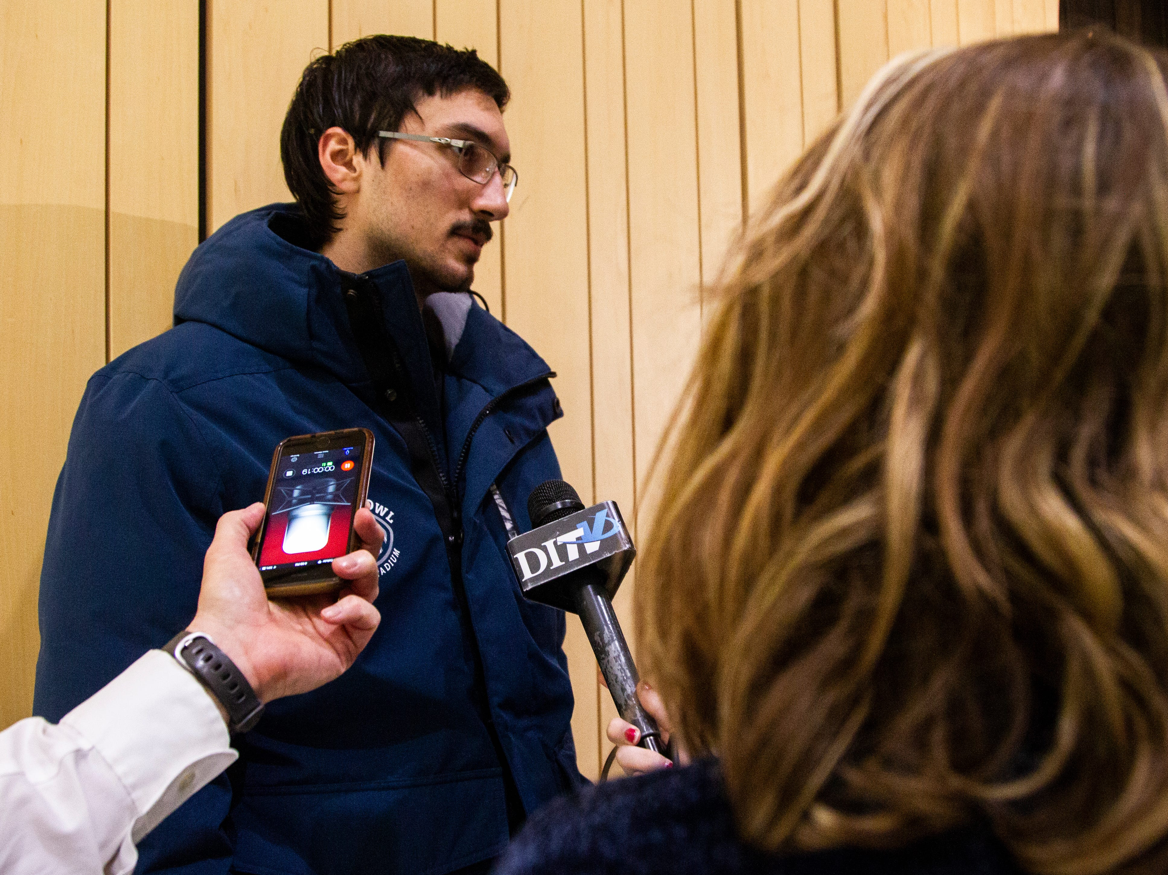 Iowa placekicker Miguel Recinos talks with reporters during an Outback Bowl announcement press conference on Sunday, Dec. 2, 2018, at the Hansen Football Performance Center in Iowa City.