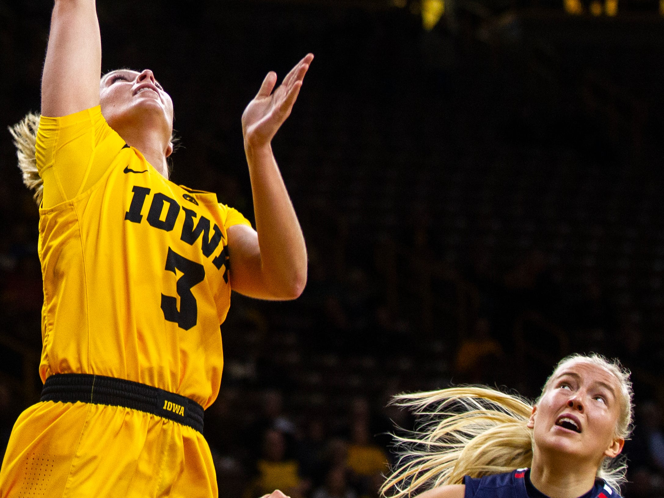 Iowa guard Makenzie Meyer (3) makes a basket during a NCAA women's basketball game on Sunday, Dec. 2, 2018, at Carver-Hawkeye Arena in Iowa City.
