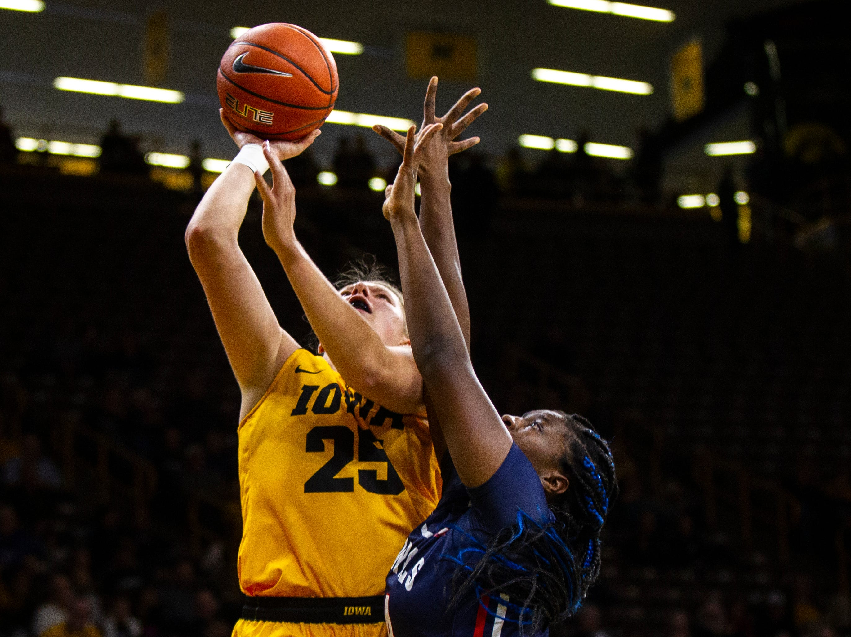 Iowa's Monika Czinano (25) makes a basket during a NCAA women's basketball game on Sunday, Dec. 2, 2018, at Carver-Hawkeye Arena in Iowa City.