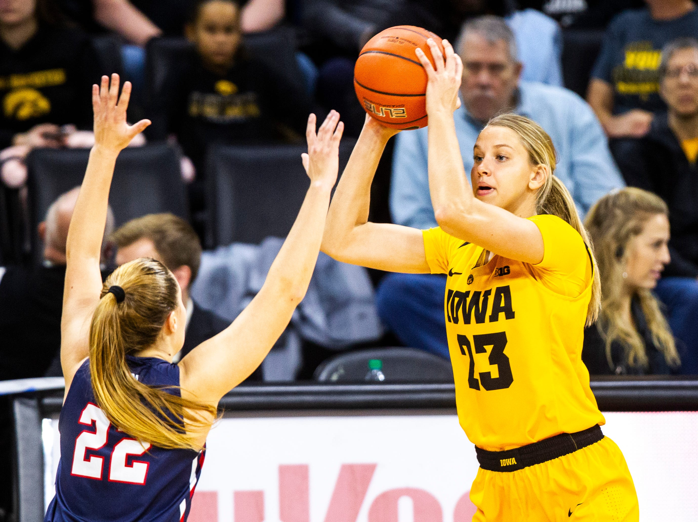 Iowa forward Logan Cook (23) looks to shoot during a NCAA women's basketball game on Sunday, Dec. 2, 2018, at Carver-Hawkeye Arena in Iowa City.