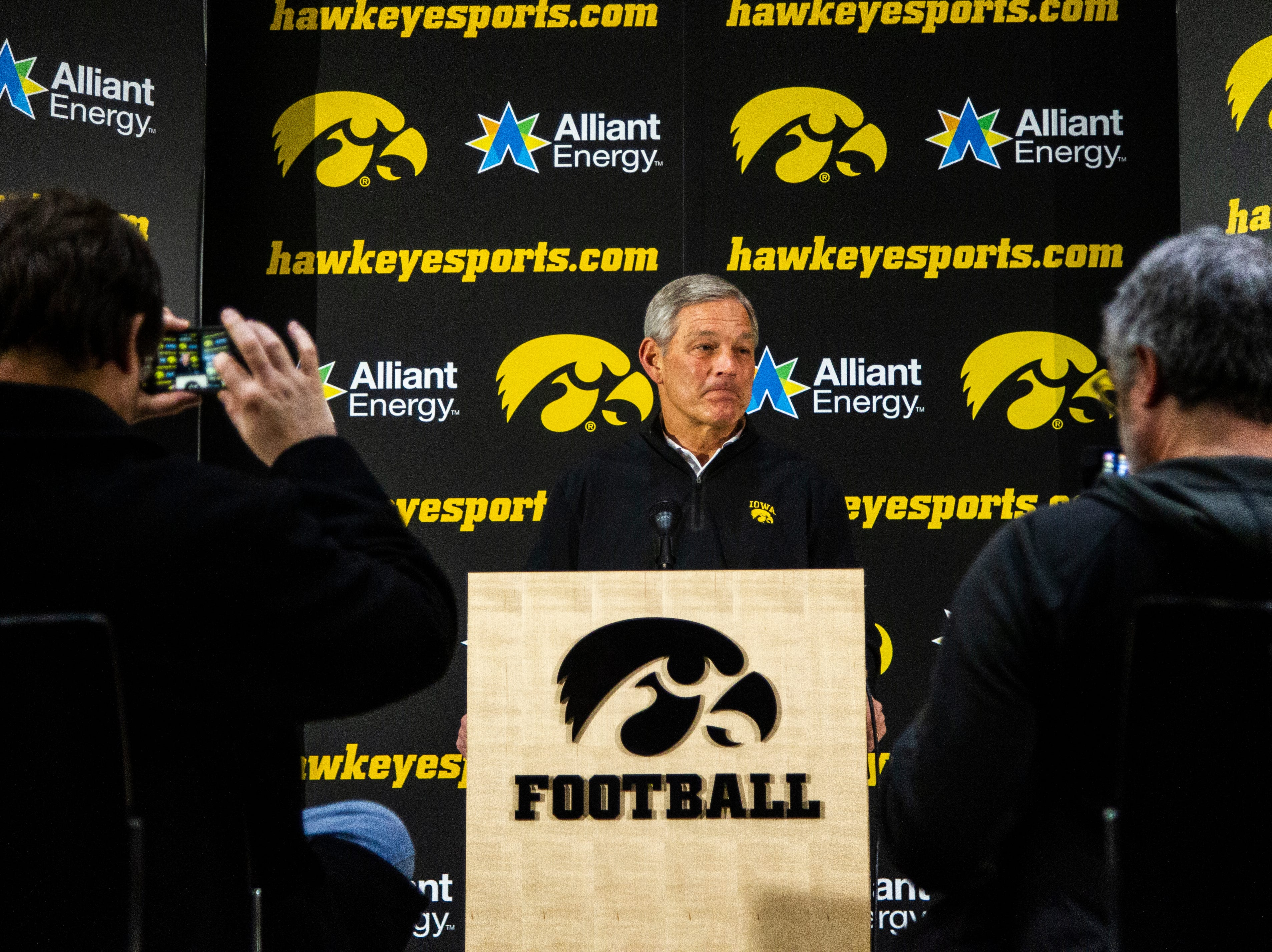 Iowa football head coach Kirk Ferentz talks with reporters during an Outback Bowl announcement press conference on Sunday, Dec. 2, 2018, at the Hansen Football Performance Center in Iowa City.