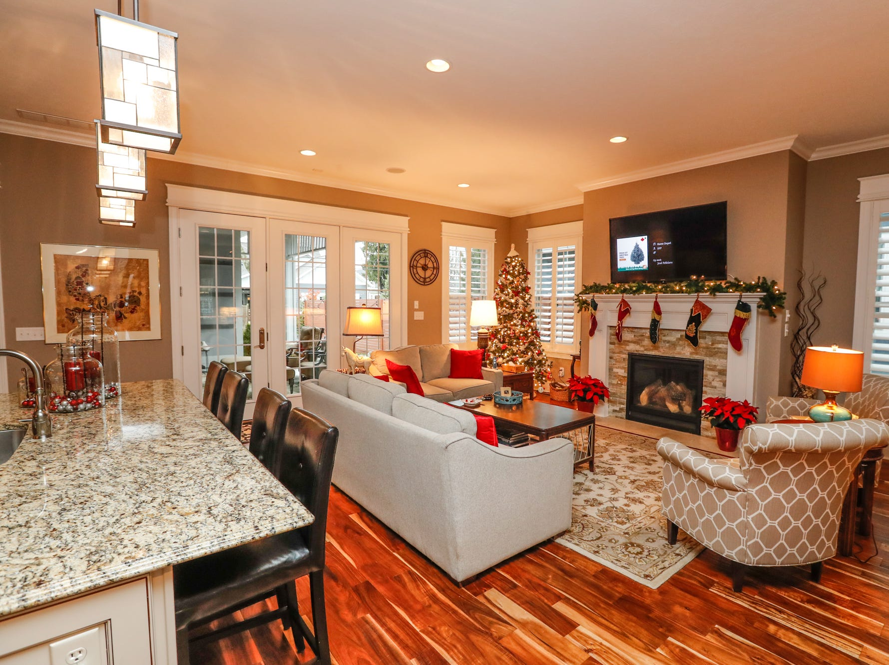 The 2013 crafts-man-style home of Sue Maki and Tom Kapostasy offers an open floor plan and more during the Carmel Clay Historical Society Holiday Home Tour in Carmel Ind. on Saturday, Dec.1, 2018. The home has 4,100+ sq. Ft., and sits on land where the Blackwell home once stood.
