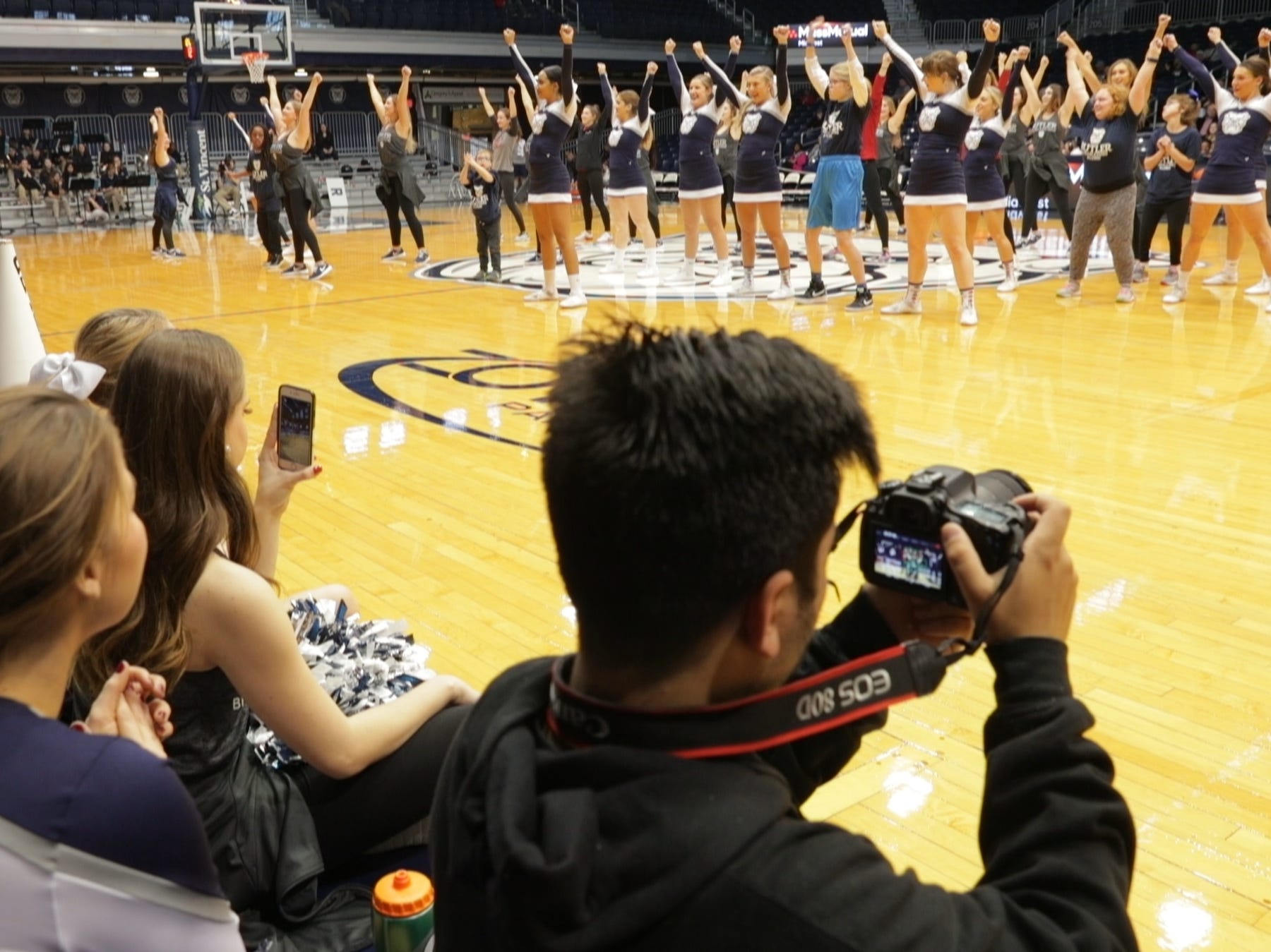 A special halftime performance during the Butler women's basketball game at Hinkle Fieldhouse, Indianapolis, Sunday, Dec. 2, 2018. Butler cheer and dance groups paired up with physical therapy students from Indiana University to teach young people with special needs a routine in preparation for a special performance during the afternoon's halftime show.