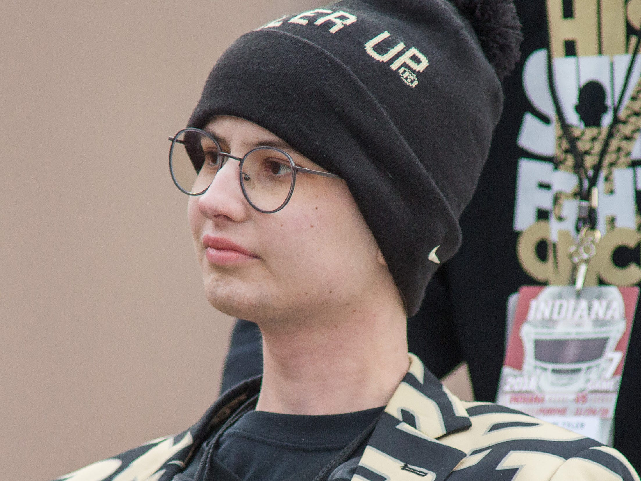 Boilermakers fan and coin flip participant Tyler Trent looks on from on the field before a game against the Indiana Hoosiers at Memorial Stadium.