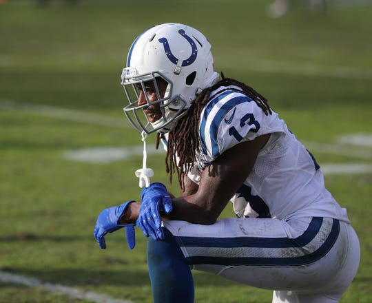 A dejected Indianapolis Colts wide receiver T.Y. Hilton (13) following the final play of their game at TIAA Bank Field on Thursday, Dec. 2, 2018. The Jacksonville Jaguars defeated the Colts 6-0.