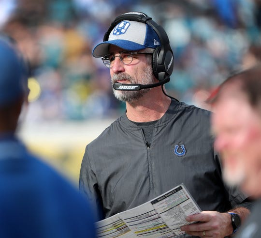 Indianapolis Colts head coach Frank Reich late in the second half of their game at TIAA Bank Field on Thursday, Dec. 2, 2018. The Jacksonville Jaguars defeated the Colts 6-0.